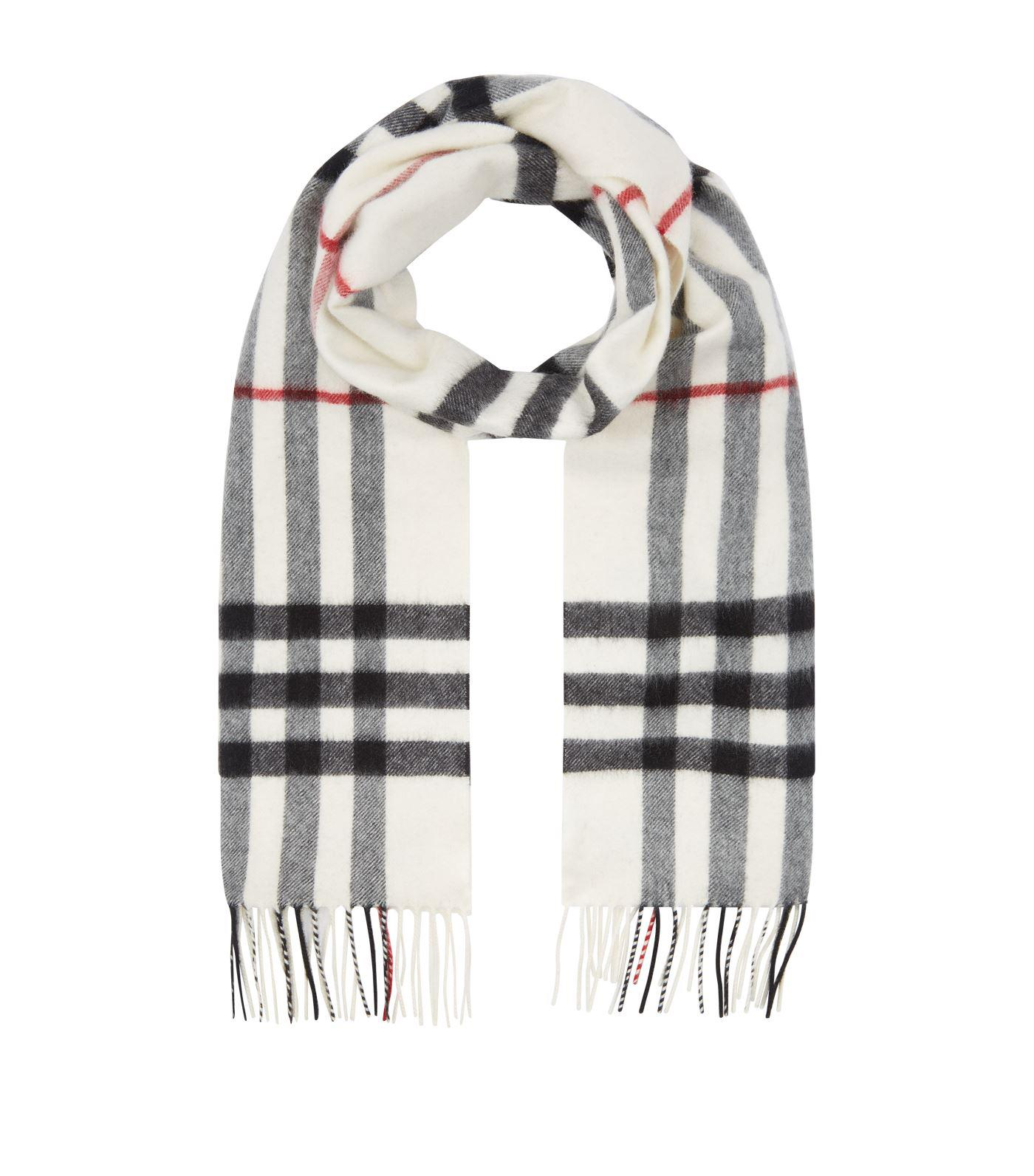 Burberry The Large Classic Cashmere Scarf In Check in White for Men ... 9de46e75be1b5