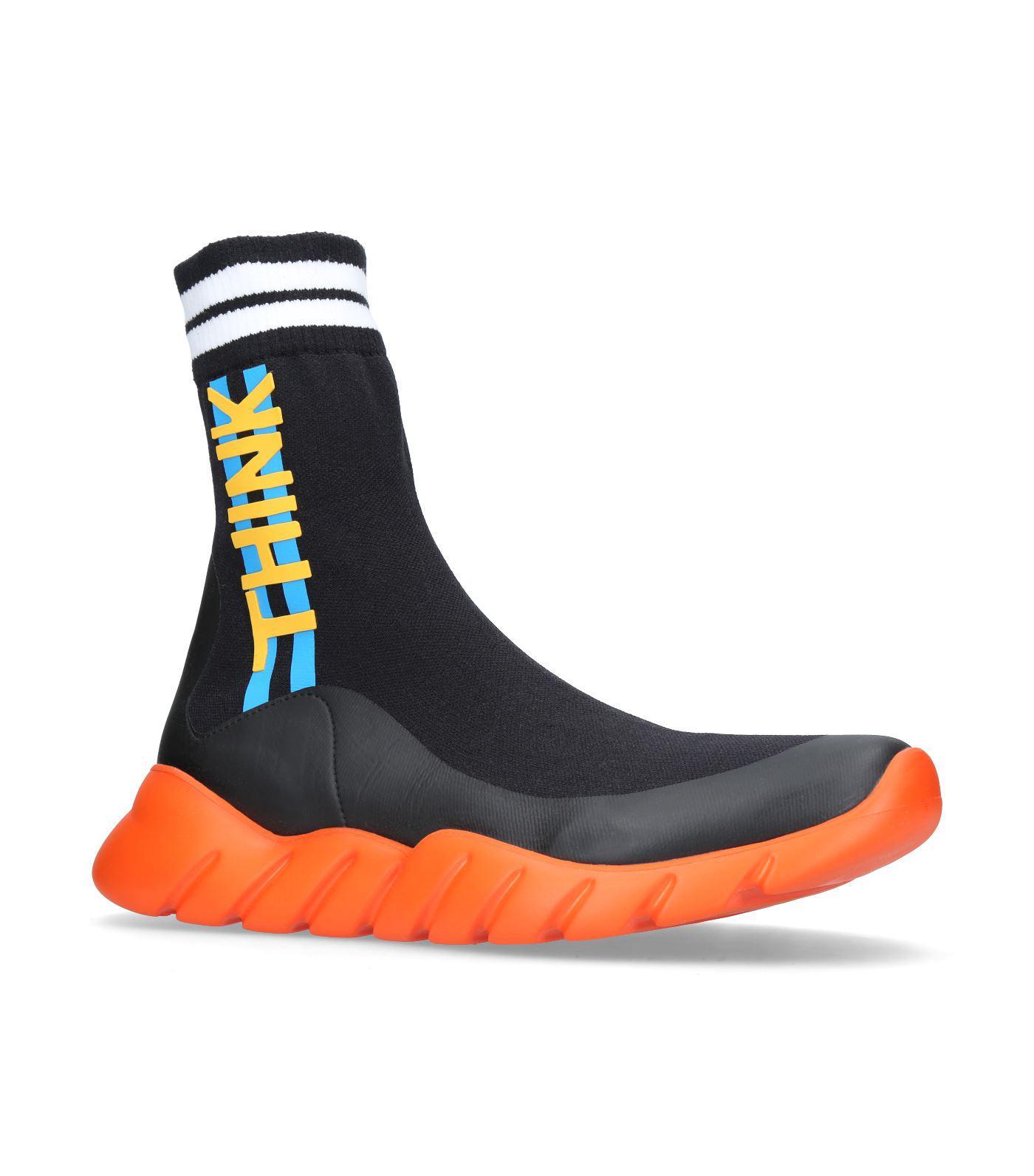 Fendi Think High Top Sneakers in Black