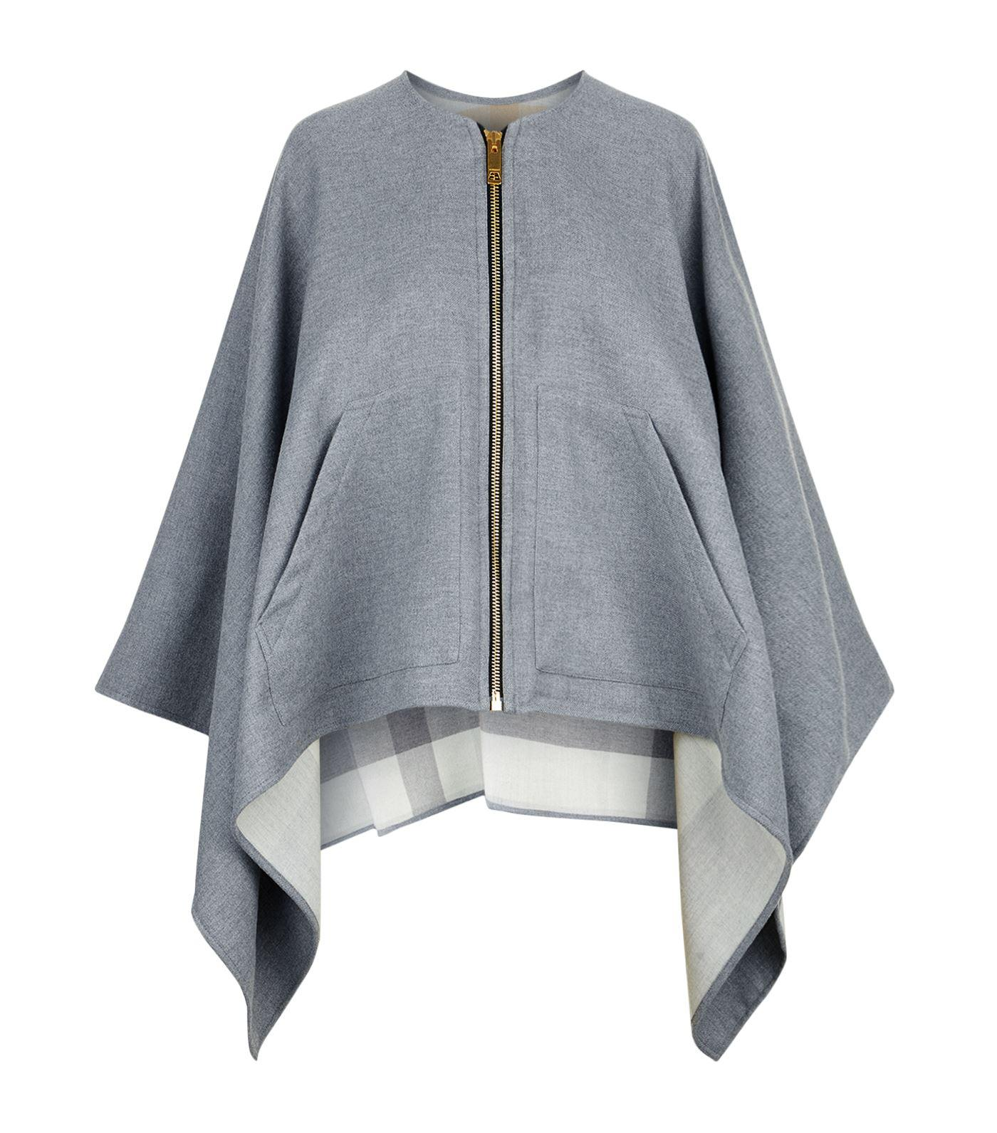 601801ac4 Burberry Merino Wool Zip-up Poncho, Grey in Gray - Lyst