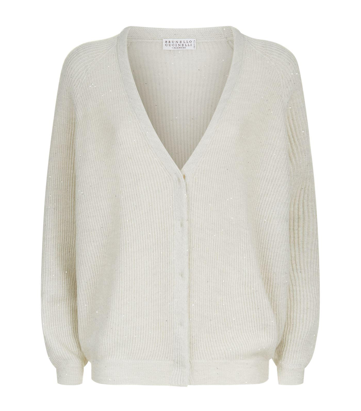 Brunello cucinelli Sequin Embellished Button Down Cardigan in Gray ...