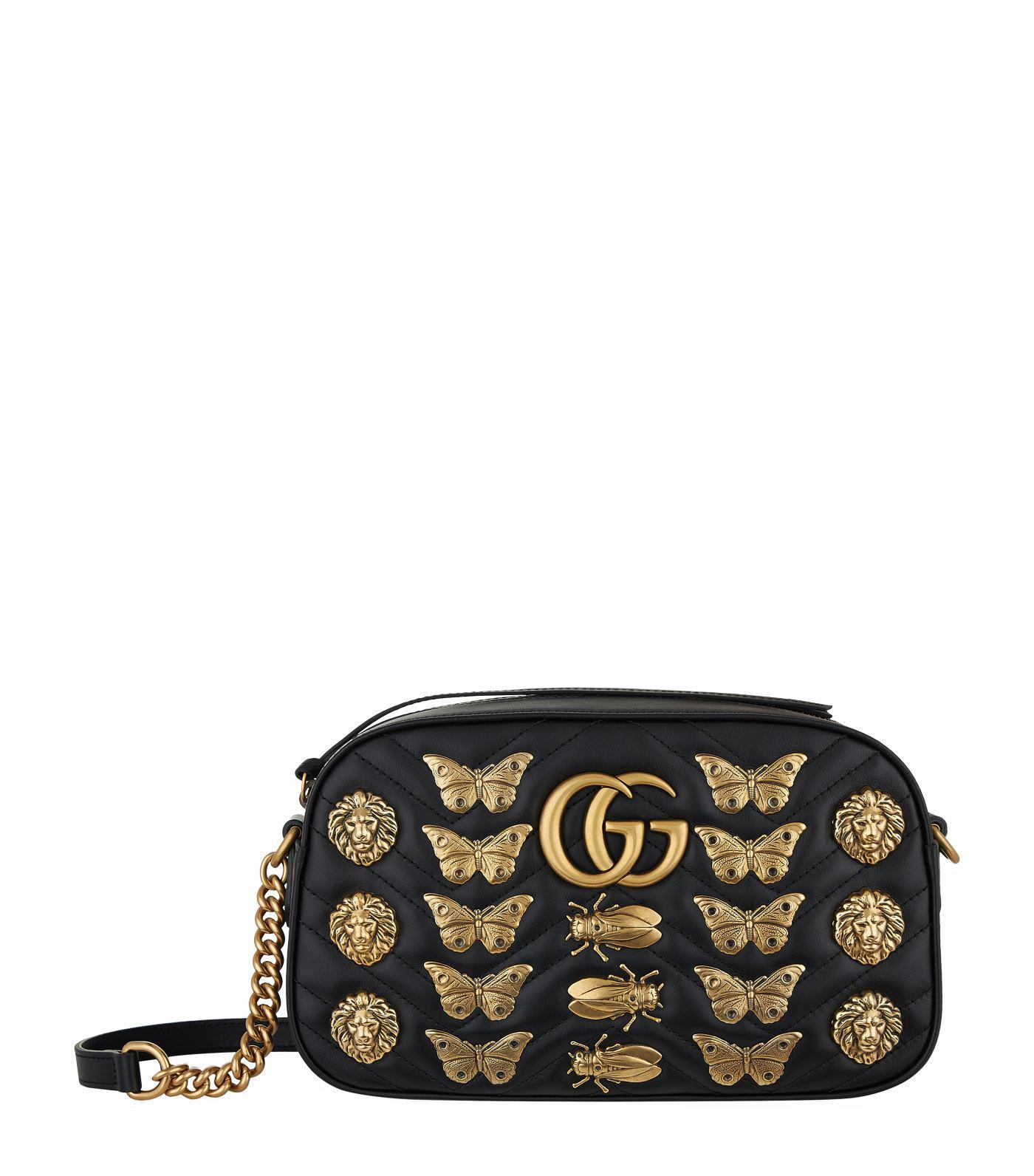 93cf27cfb93004 Gucci Marmont Bug Matelass Shoulder Bag in Black - Lyst