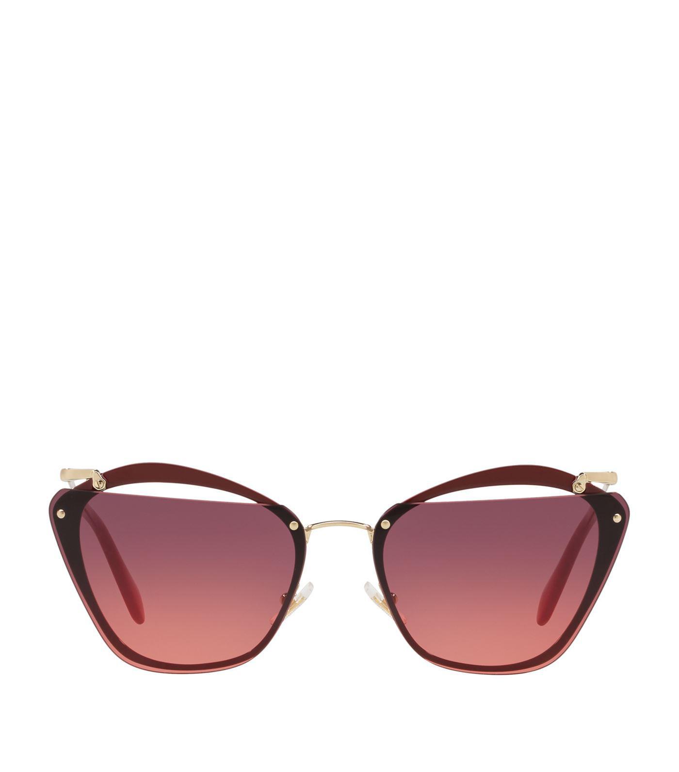 f8940d1e1a7 Miu Miu Oval Sunglasses in Red - Lyst