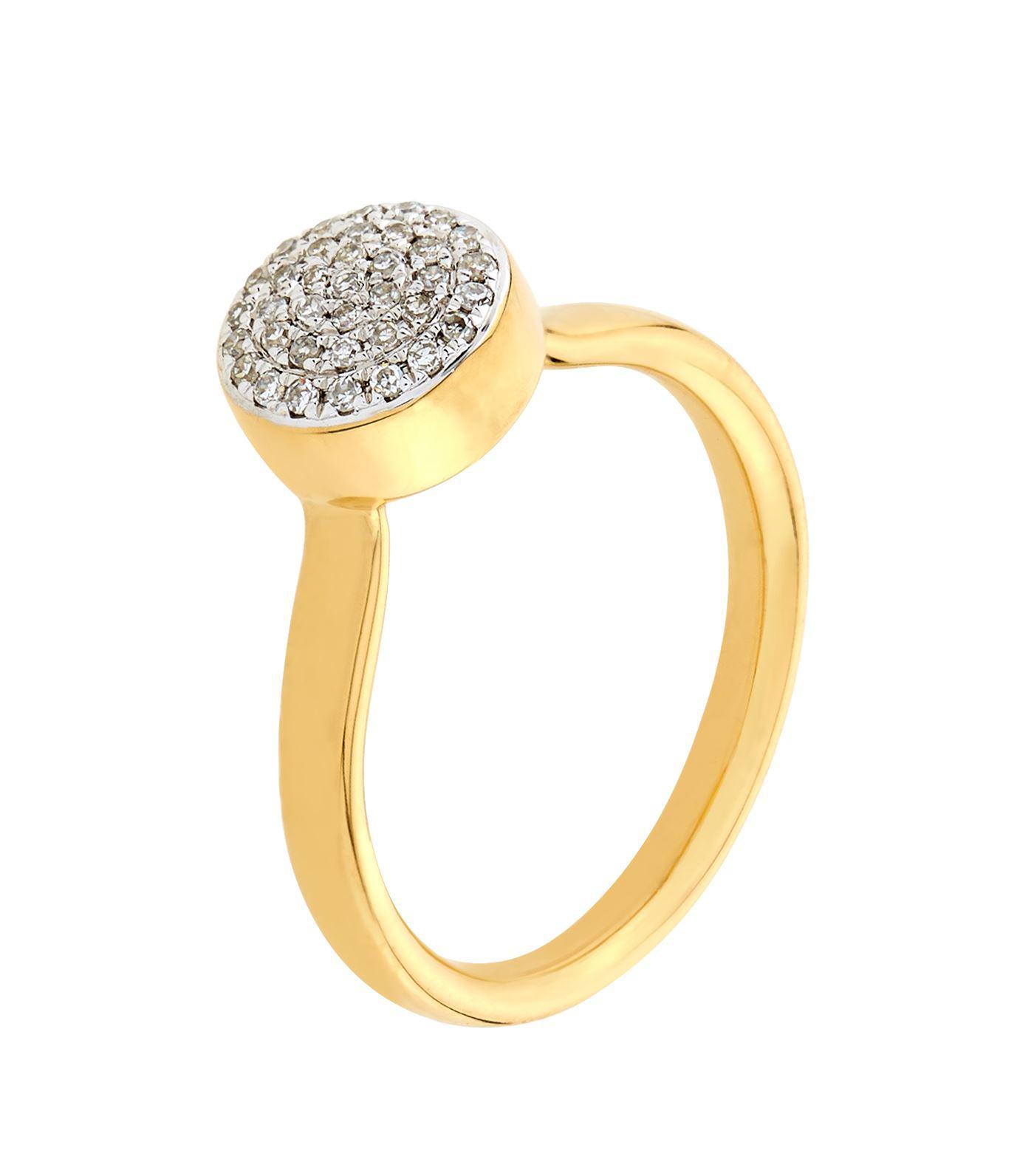 Ava Diamond Button Ring, Gold Vermeil on Silver Monica Vinader