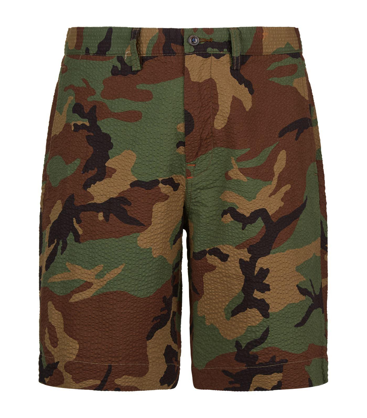 Polo Ralph Lauren Cotton Seersucker Camouflage Shorts In Green For