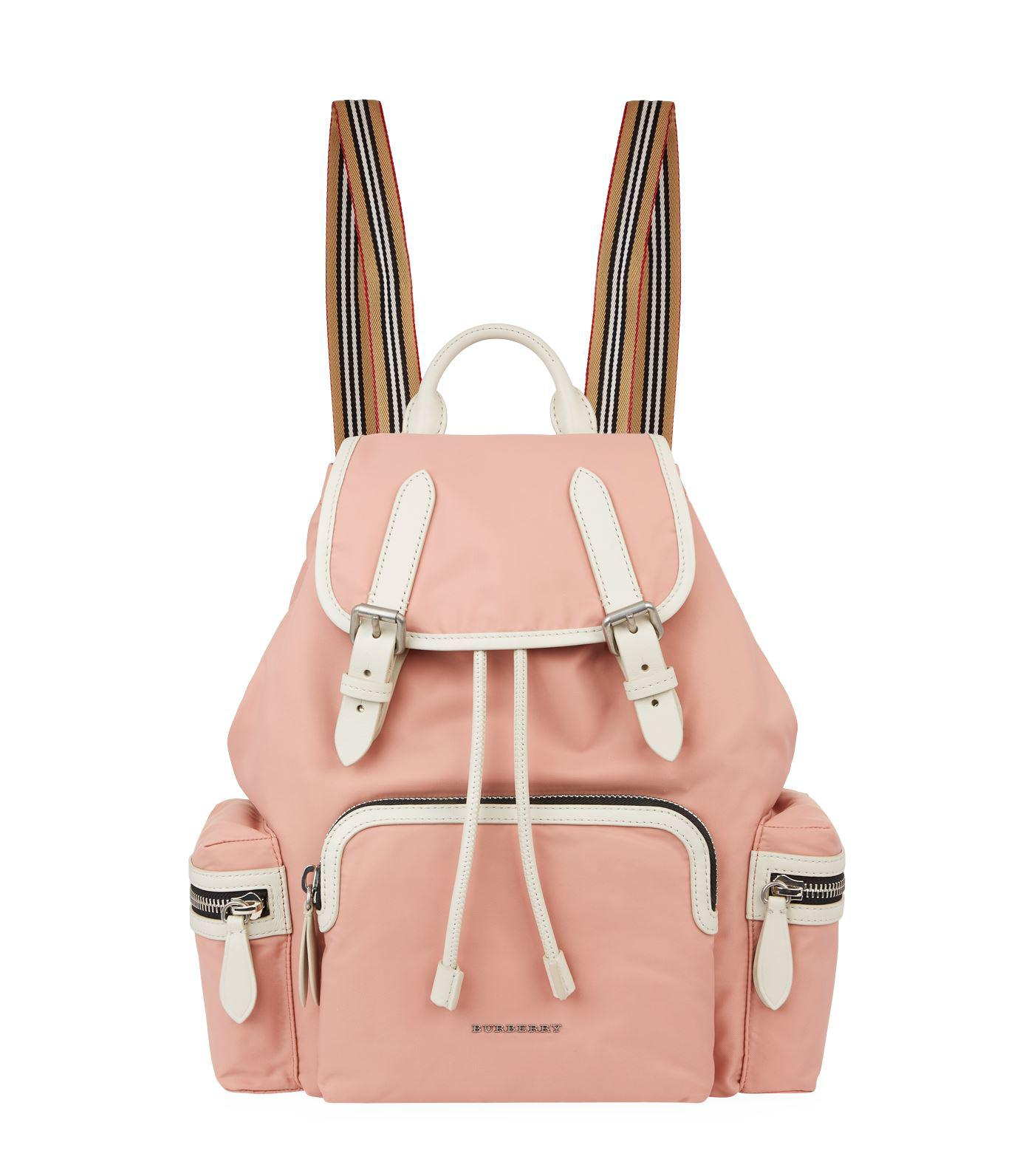 8dc58e9a88ff Long-Touch to Zoom. Burberry - Pink Medium Contrast Buckled Rucksack -  Lyst. View fullscreen