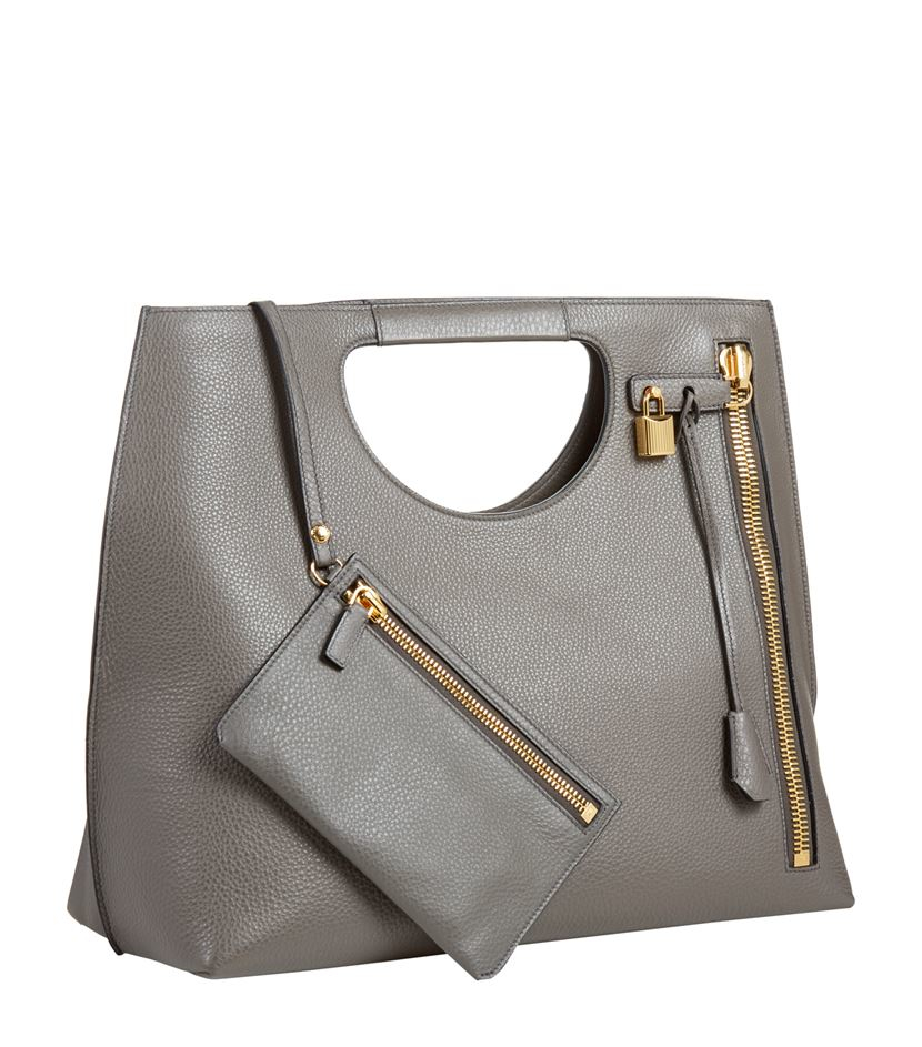Tom Ford Leather Alix Tote in Grey