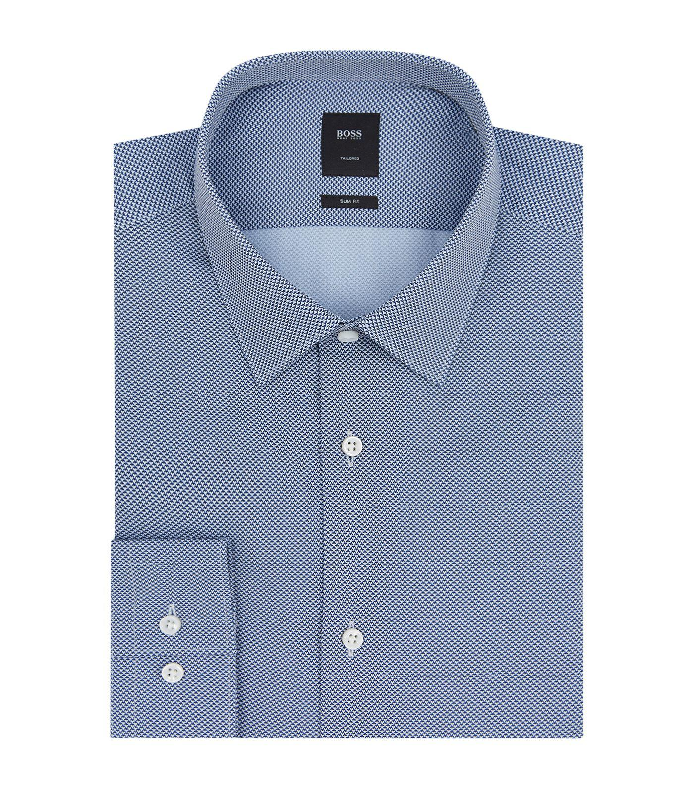 Lyst boss slim fit cotton shirt in blue for men for Slim fit cotton shirts