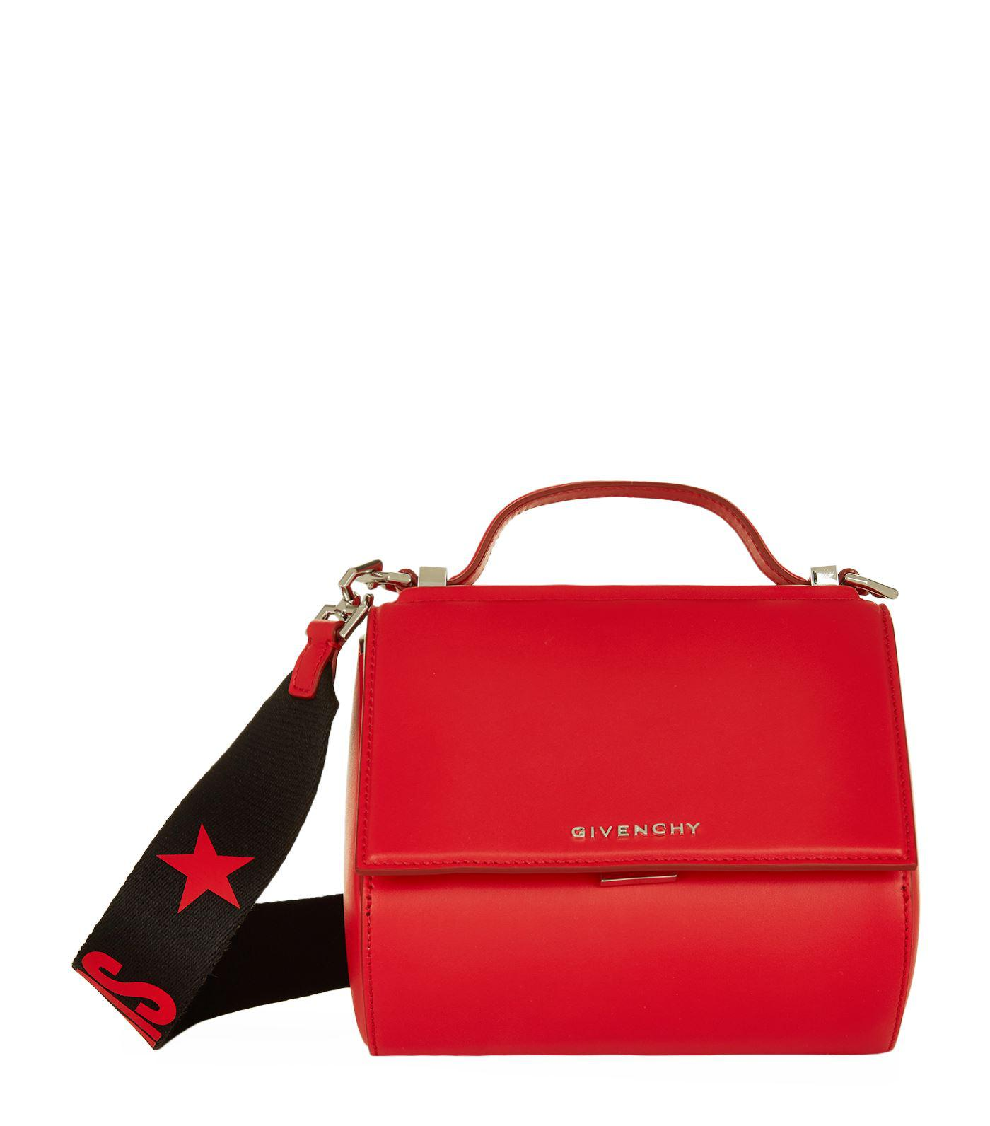 9dfeae32d89 Givenchy Mini Pandora Box Logo Strap Bag in Red - Lyst