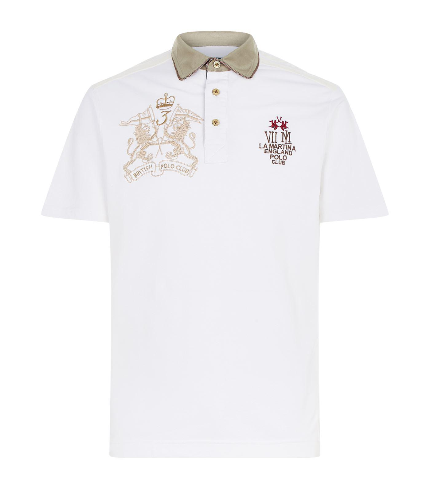 white and gold polo shirt