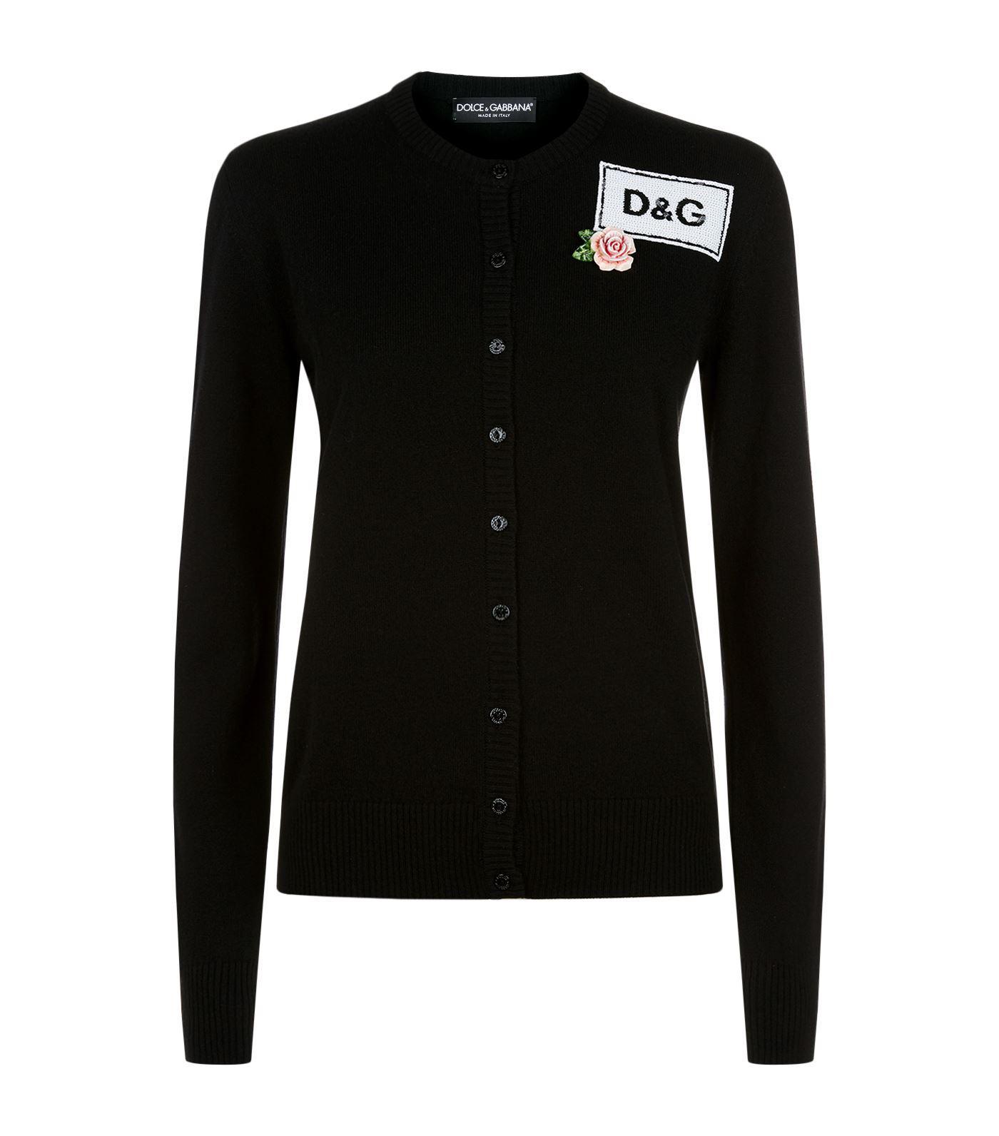Dolce & gabbana Sequin Embellished Logo Cashmere Cardigan in Black ...