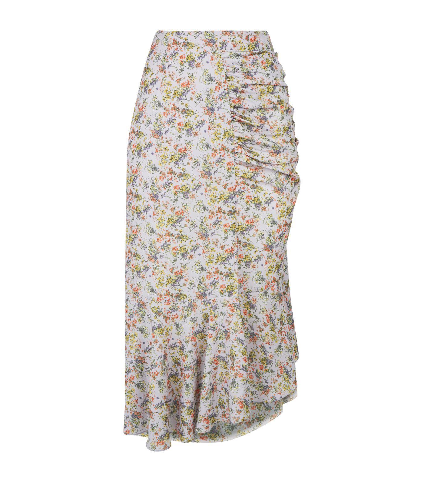 647f67d8a8 Alice + Olivia. Women's Purple Freida Asymmetric Ruched Floral-print Crepe  Midi Skirt