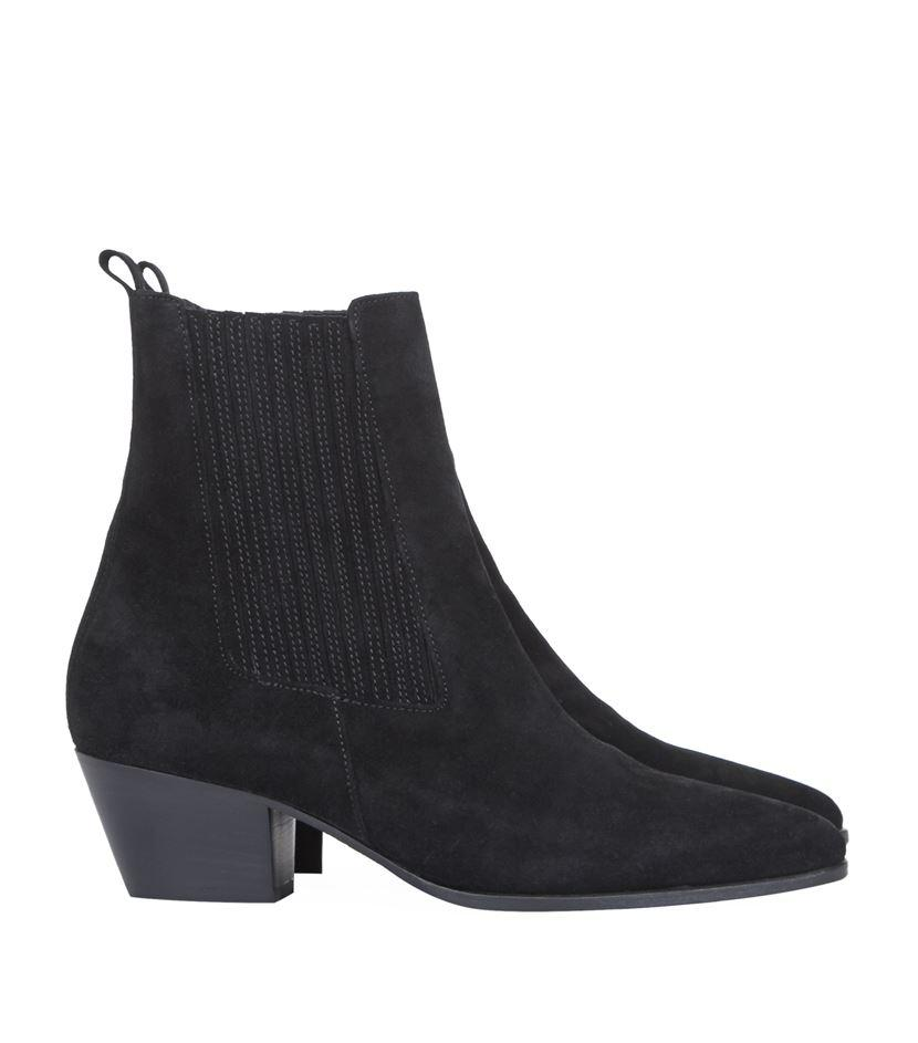 Sandro Suede Amelya Western Ankle Boot in Black