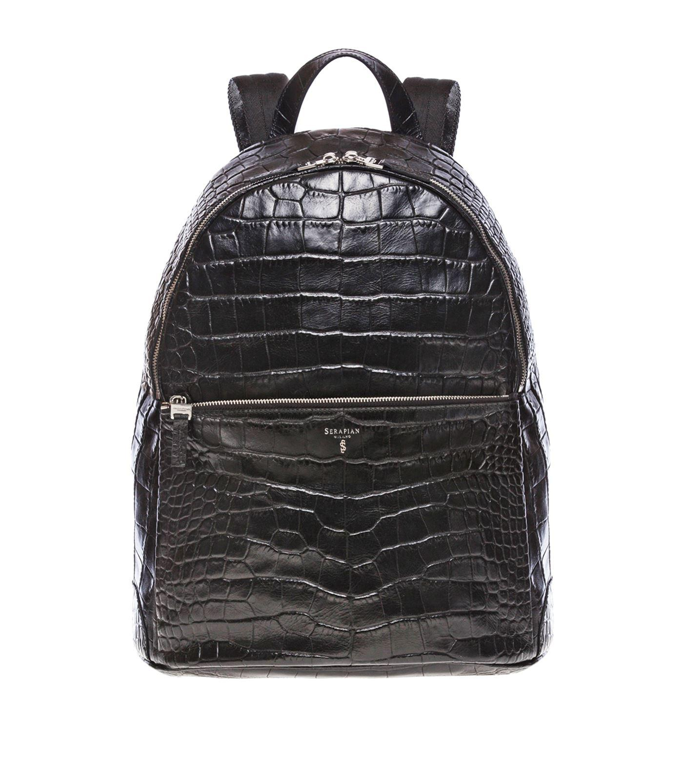 4ac9b24eed1 Lyst - Serapian Croc-embossed Leather Backpack in Black - Save ...