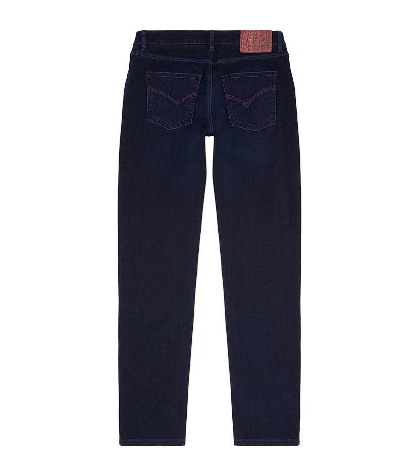 Zilli Denim Crocodile Skin Badge Jeans in Blue for Men