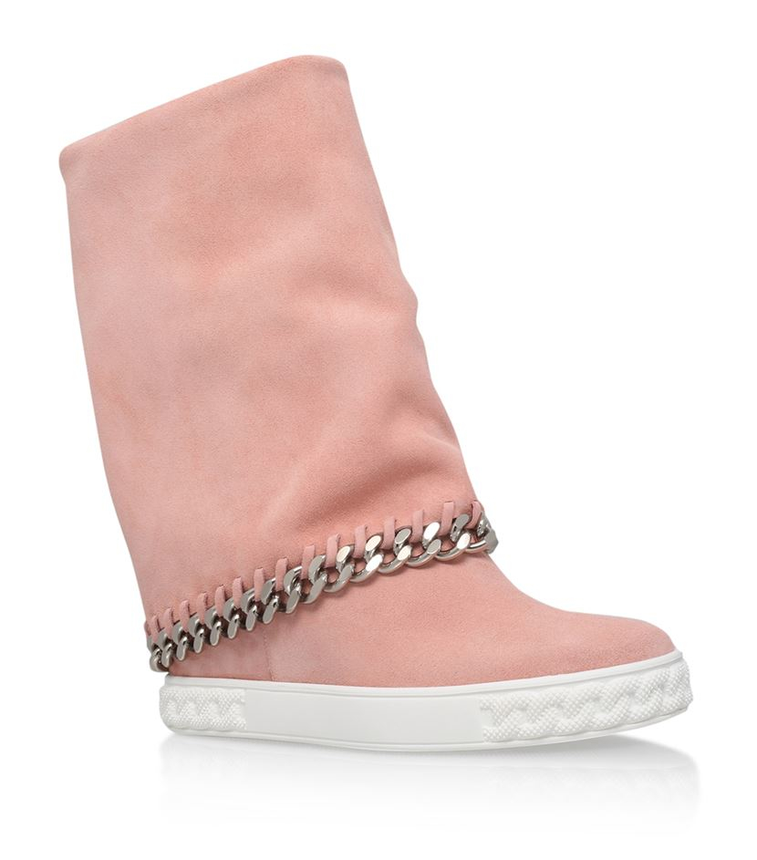 casadei chaucer suede wedge boots in pink lyst