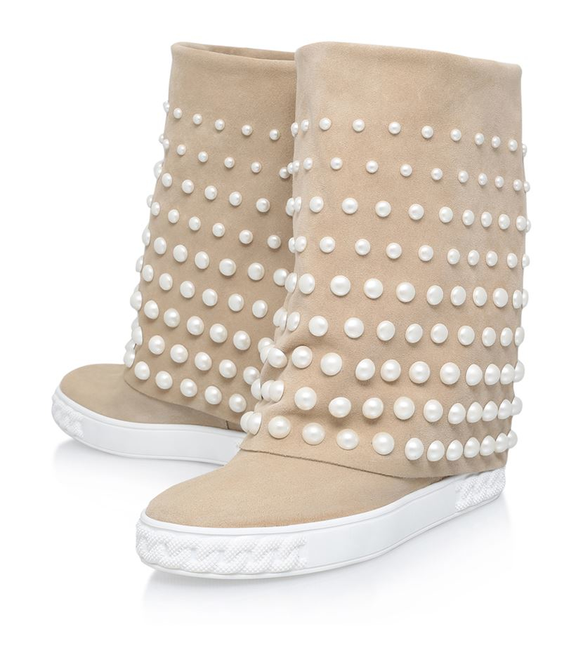 Casadei Suede Chaucer Pearl Embellished Wedge Boots in Natural