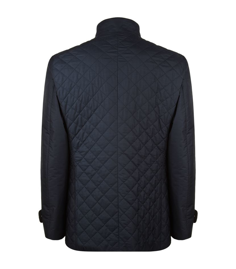 Corneliani Wool Quilted Field Jacket in Blue for Men