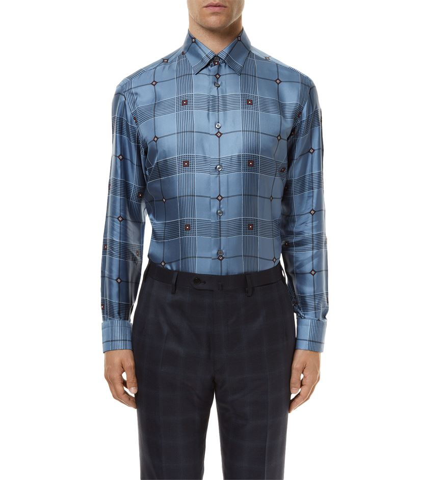 Brioni diamond check silk shirt in blue for men lyst for Diamond and silk t shirts