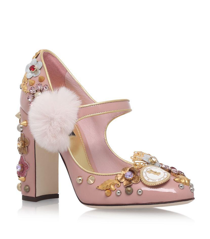 43d6c5fd4cee4 Dolce & Gabbana Pink Pom Pom Mary Jane Shoes