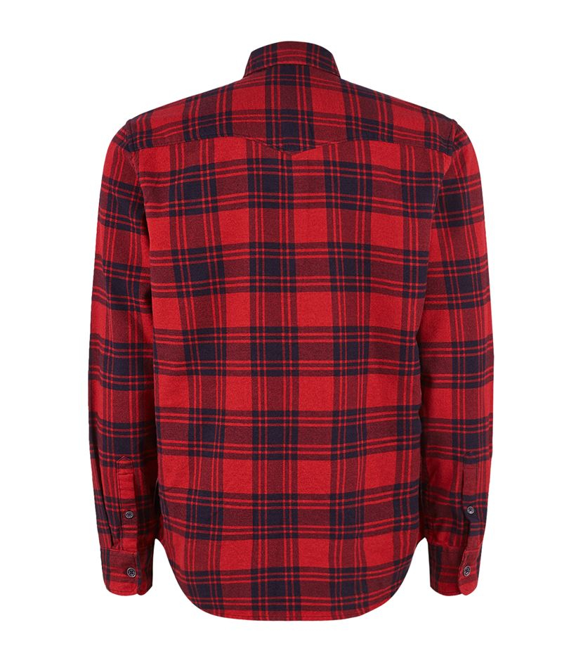 True religion slim fit checked flannel shirt in red for for Women s slim fit flannel shirt