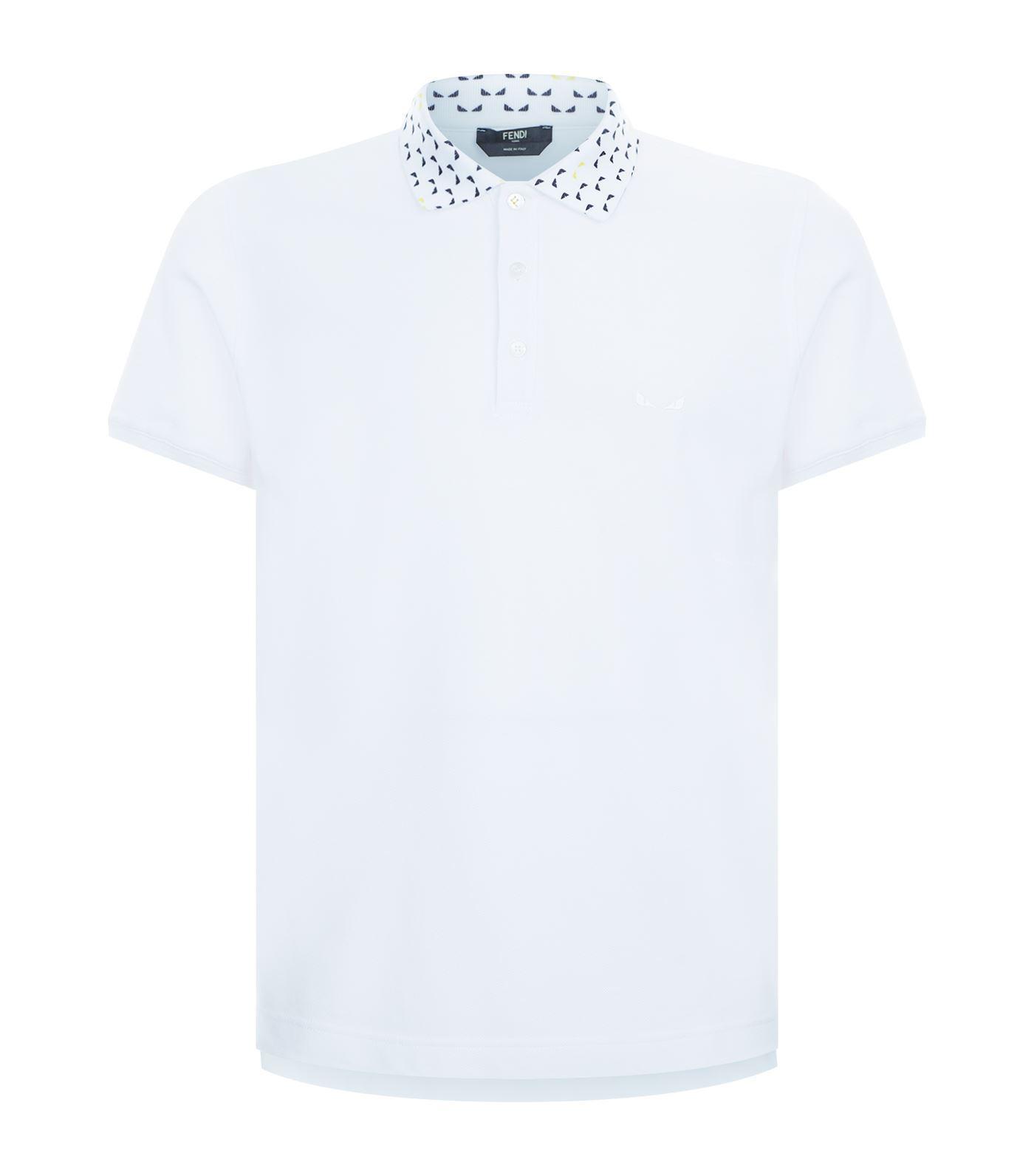 9d7bebcac Fendi Monster Eye Polo Shirt in White for Men - Lyst