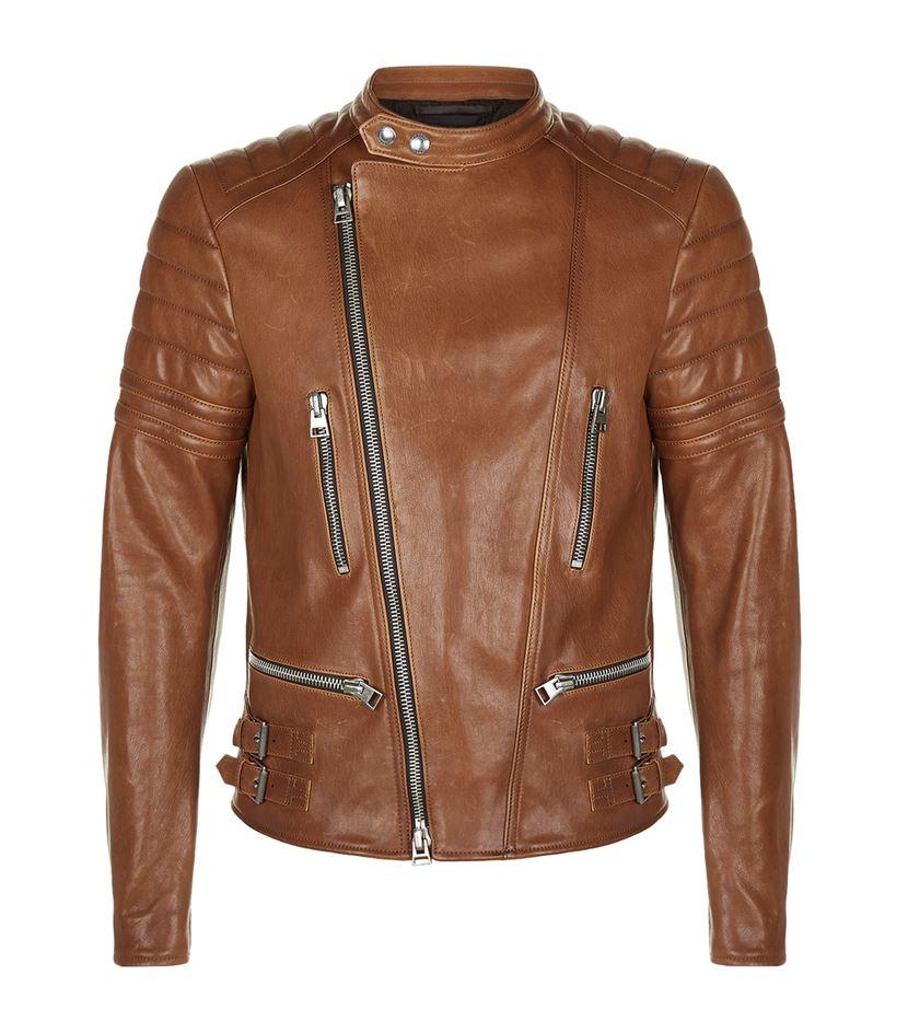 tom ford leather biker jacket in brown for men lyst. Black Bedroom Furniture Sets. Home Design Ideas