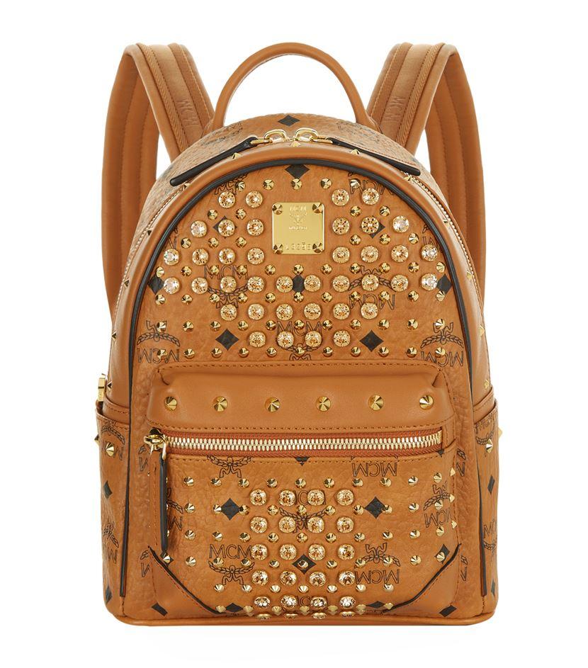 mcm mini diamond visetos backpack in brown lyst. Black Bedroom Furniture Sets. Home Design Ideas