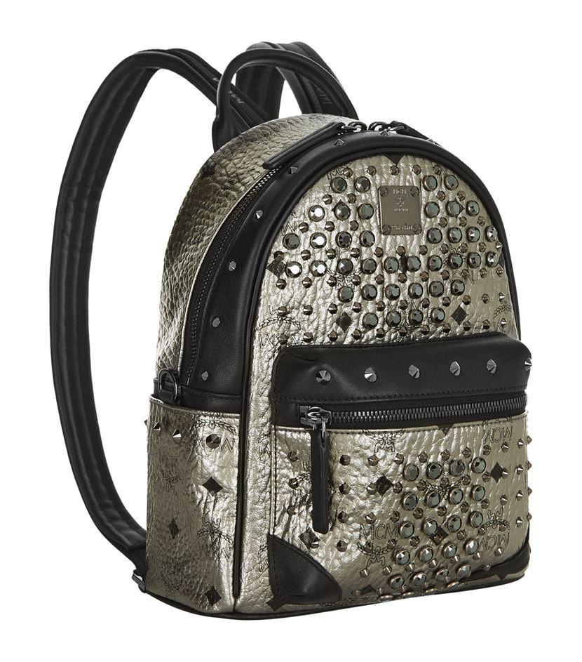 MCM Canvas Mini Diamond Visetos Backpack in Black