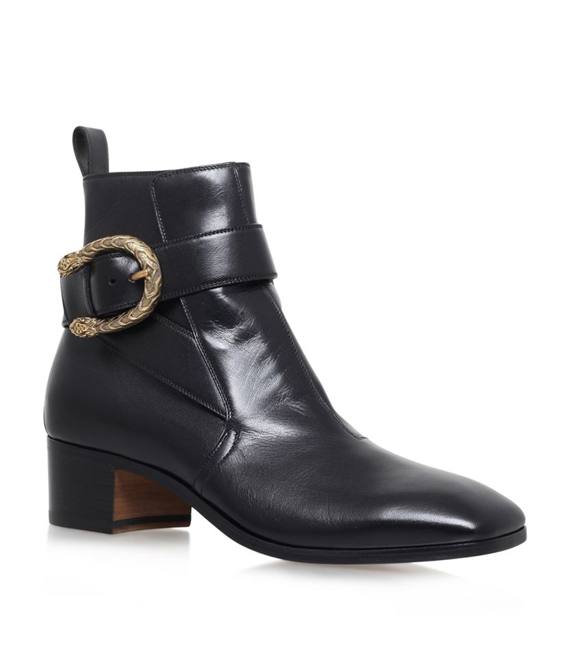 gucci new zealand buckle boots in black lyst
