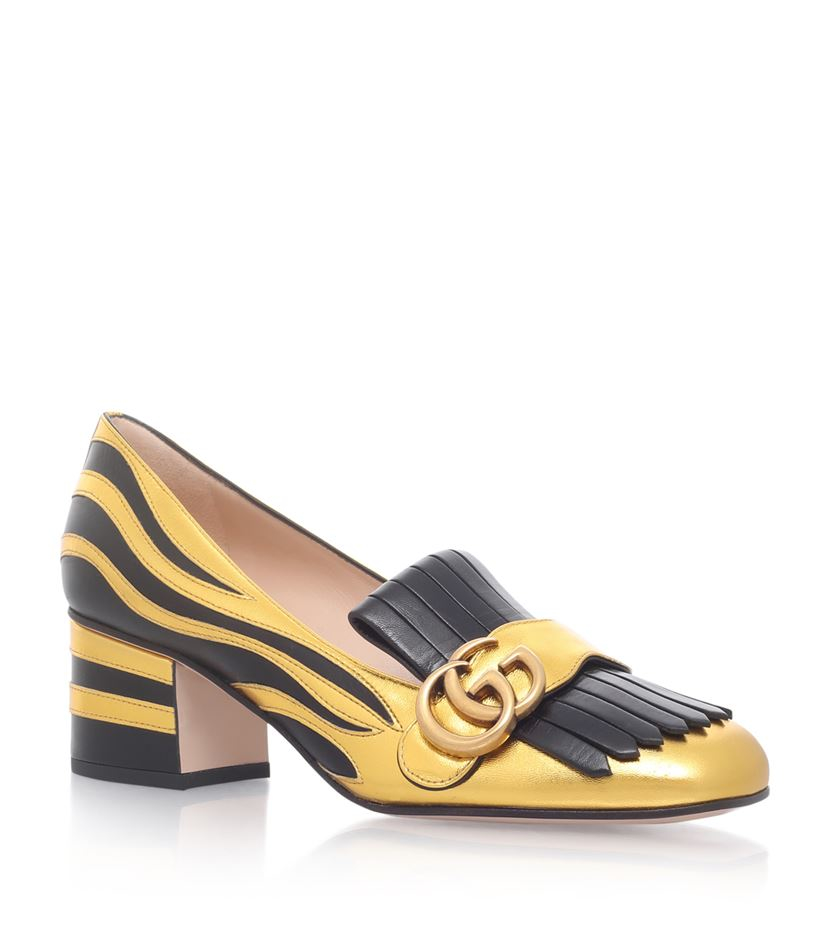 Gucci Marmont Fringed Leather Loafers in Black