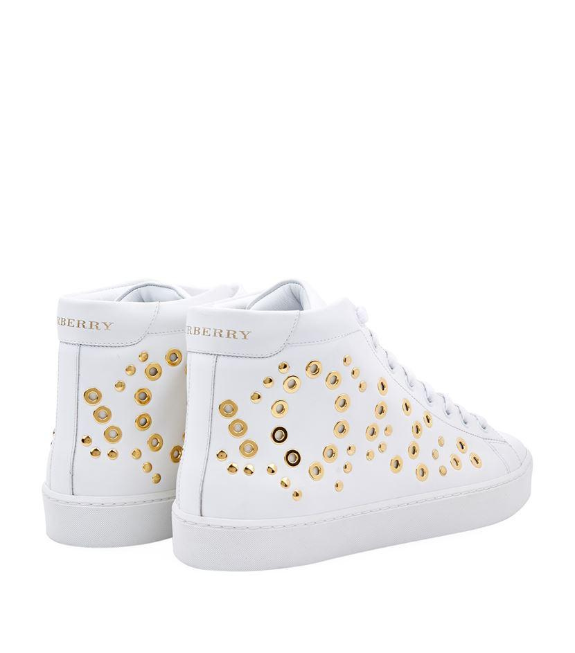 Burberry Leather Dorny Eye High-top Sneakers in White