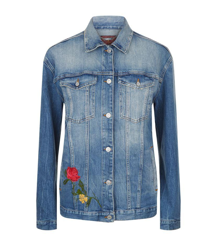For all mankind oversized flower embroidered denim