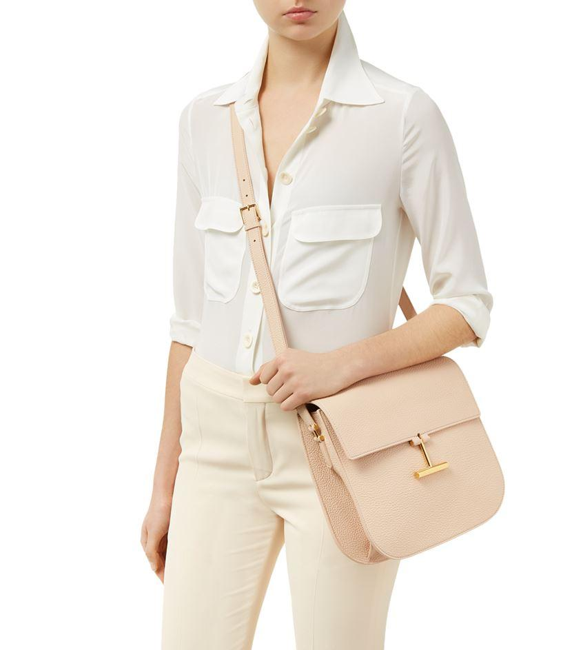 Tom Ford Leather T-clasp Crossbody Bag in Natural