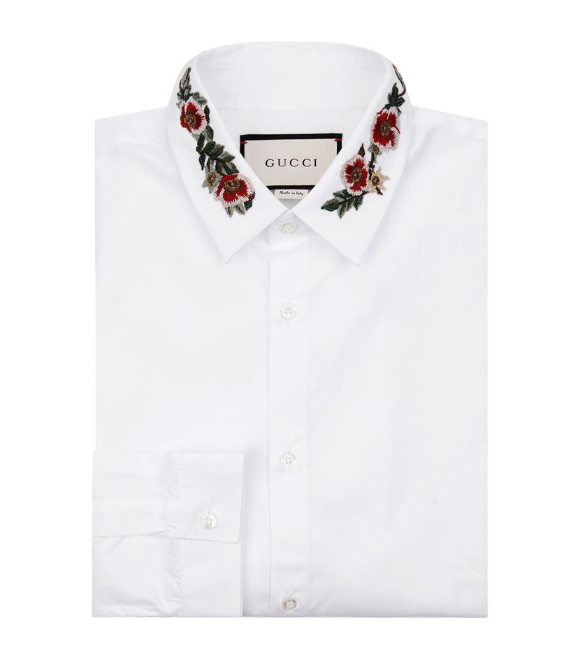 Gucci embroidered collar shirt in white for men lyst