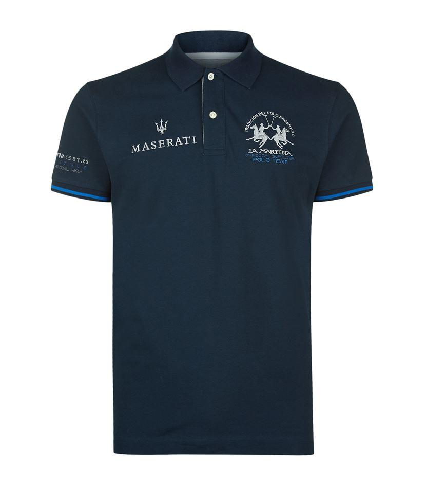 la martina logo polo shirt in blue for men lyst. Black Bedroom Furniture Sets. Home Design Ideas