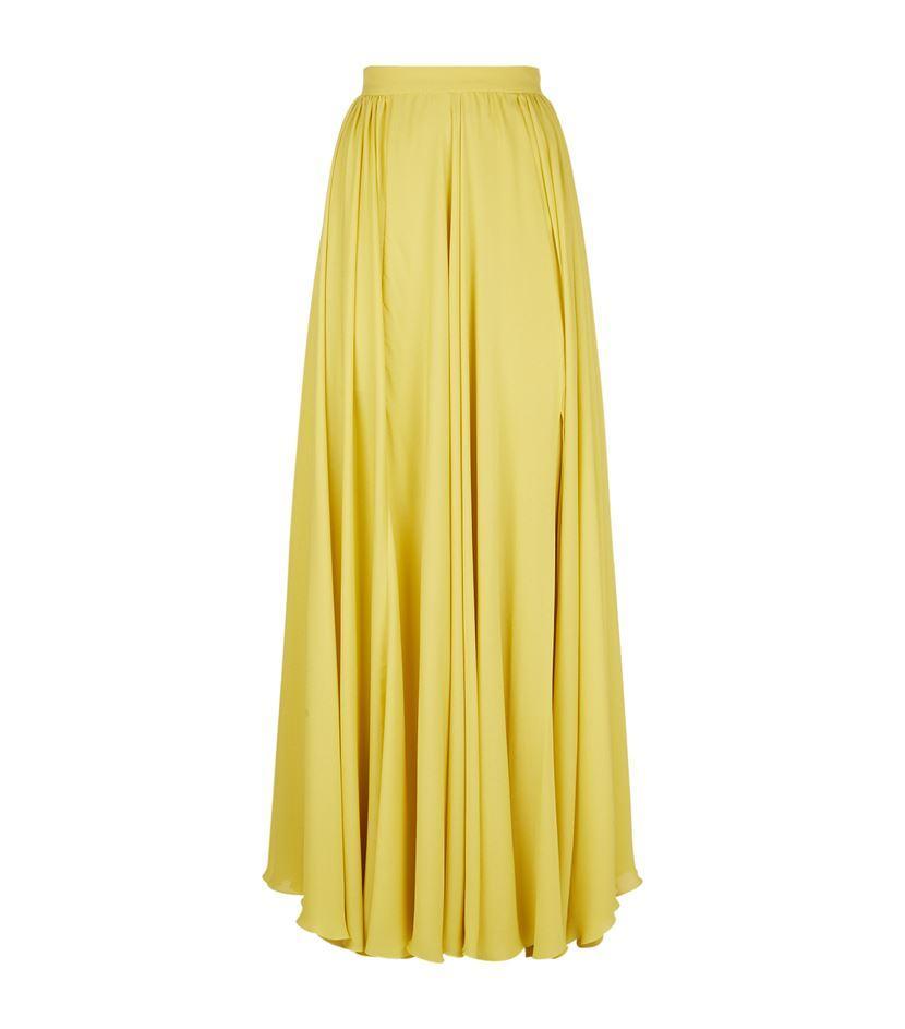 elie saab pleated silk maxi skirt in yellow lyst