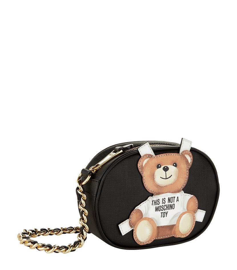 Moschino Leather Teddy Bear Cross Body Bag in Black