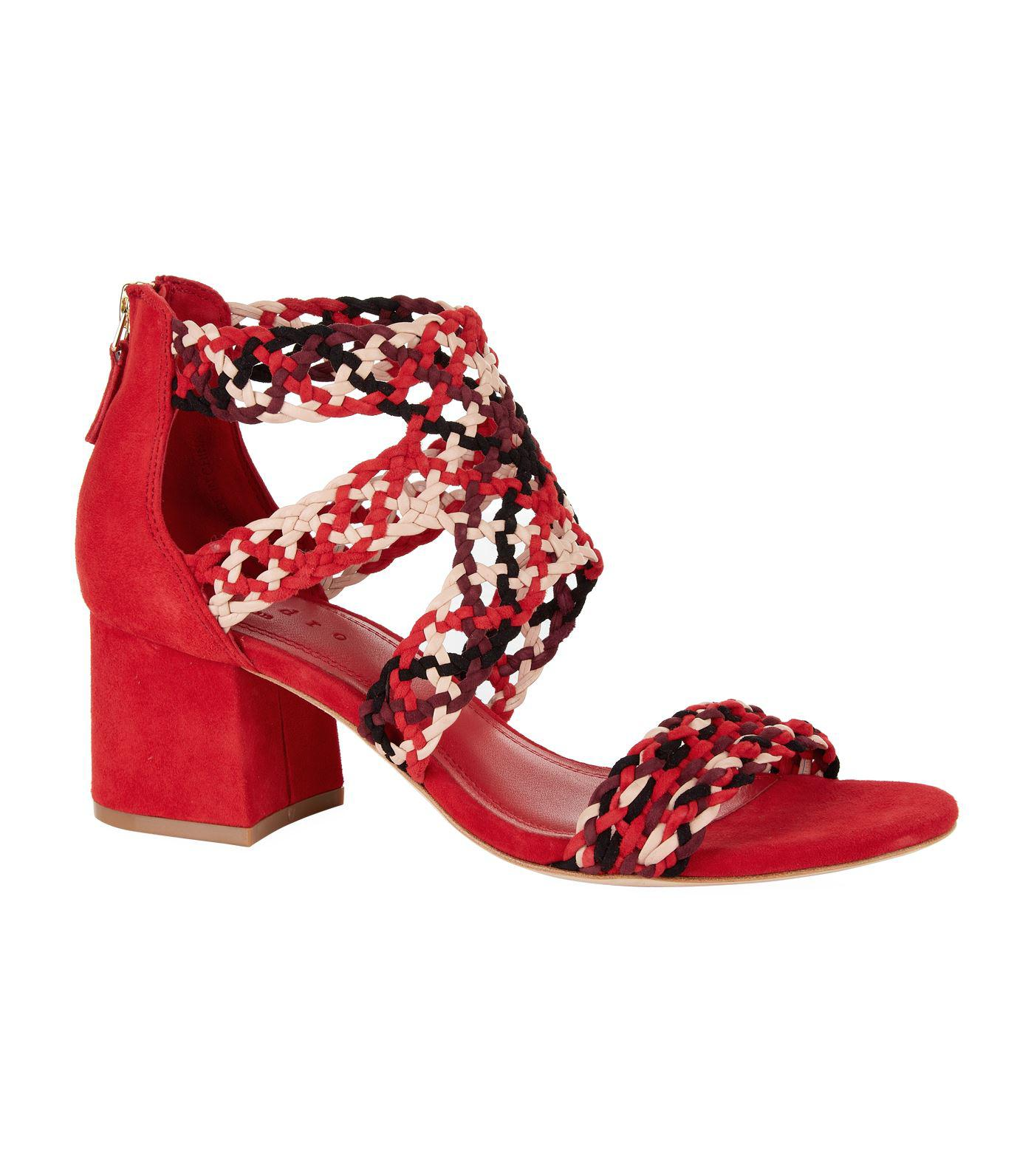 Sandro Lena Suede Sandals 600 in Red - Lyst