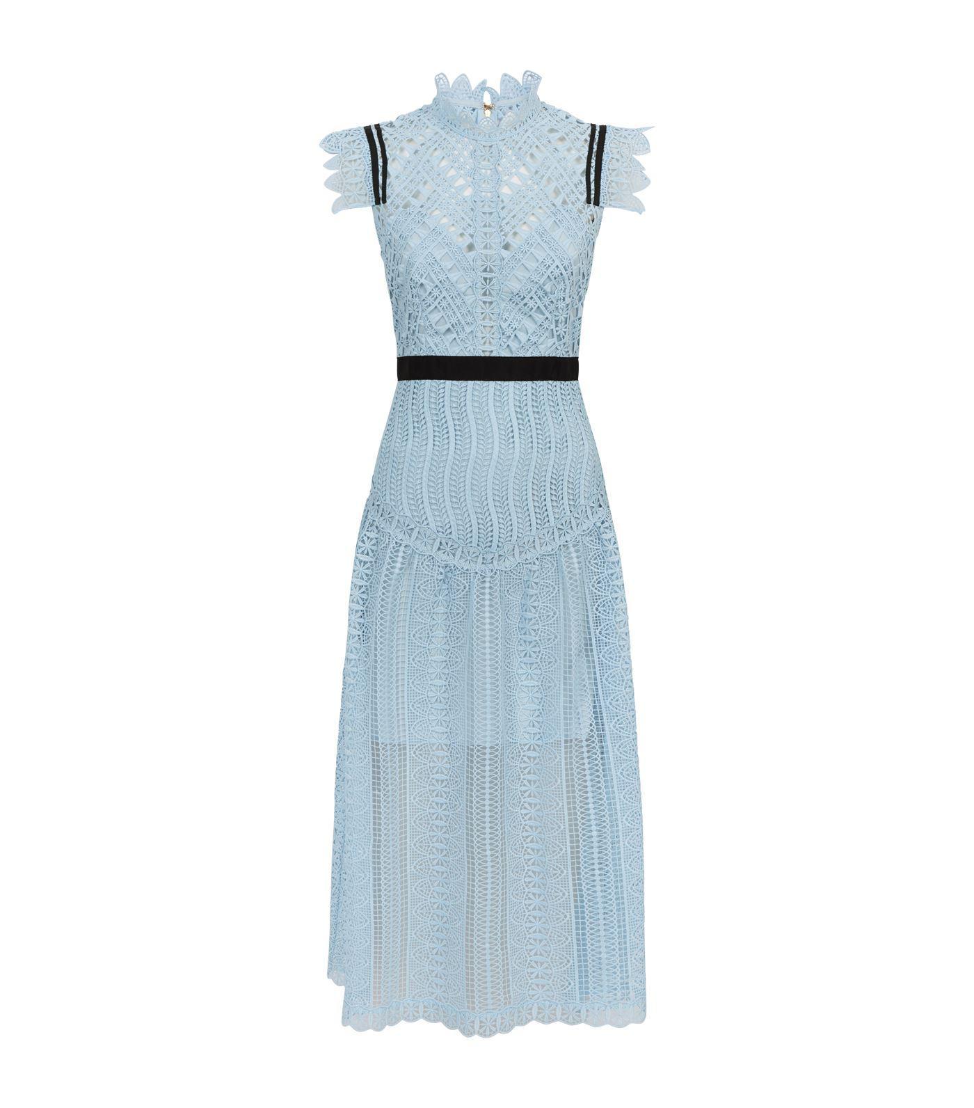 3aaa22b2eb00 Self-Portrait Triangle Lace Midi Dress in Blue - Lyst