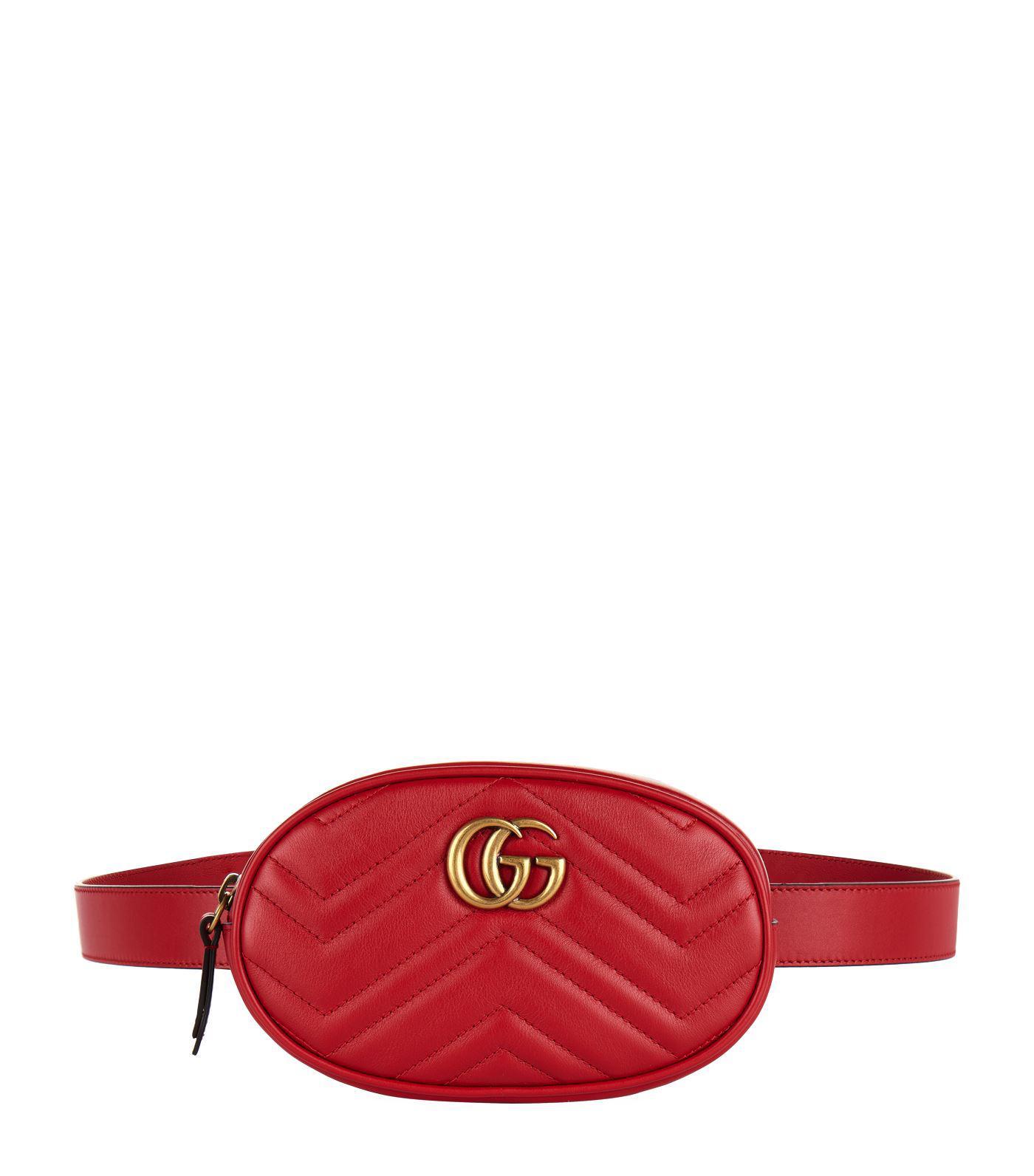 67f170b842f9ca Gucci GG Marmont Matelassé Belt Bag in Red - Save 17% - Lyst
