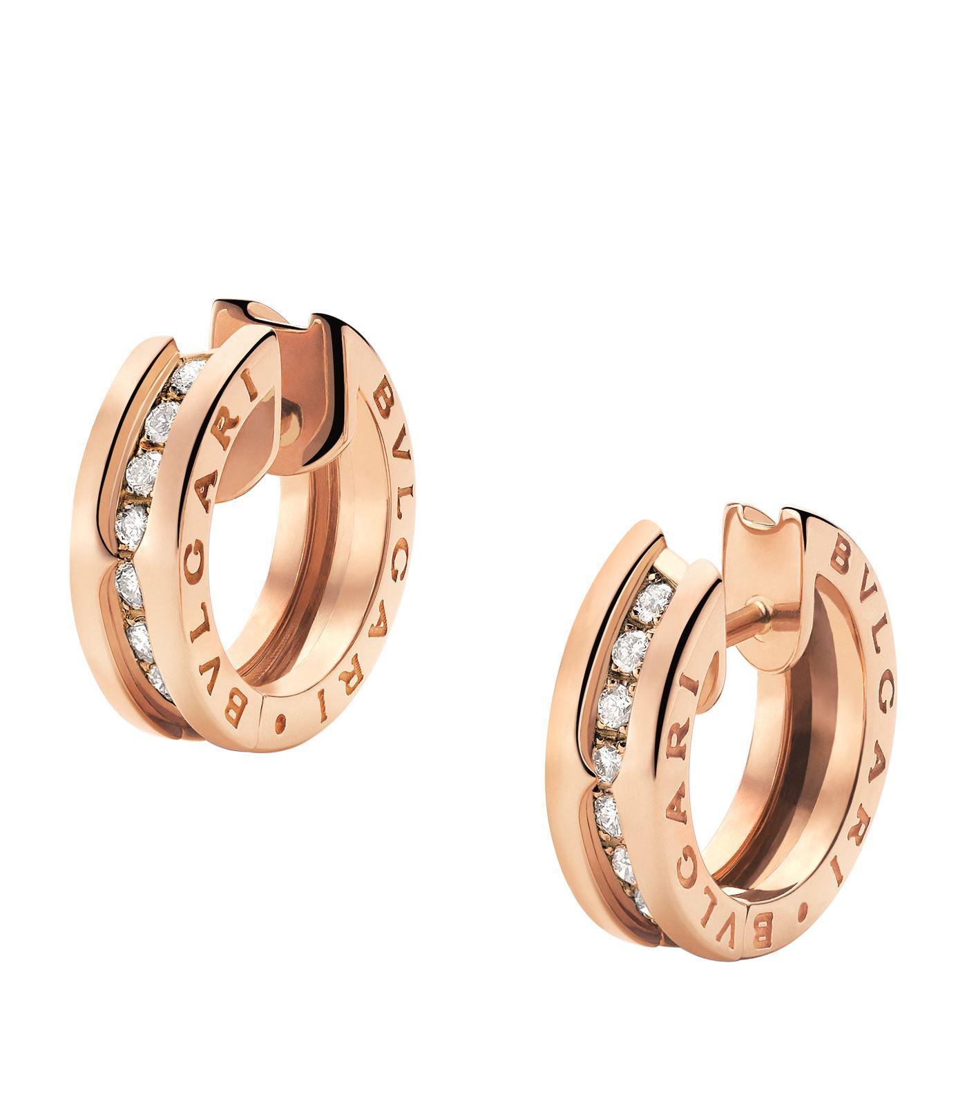 Bvlgari Women S Metallic Rose Gold Diamond B Zero1 Earrings