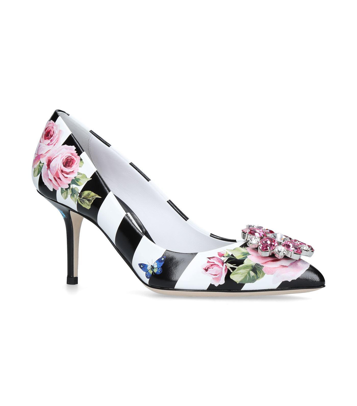 \u0026 Gabbana Floral Print Striped Pumps 75