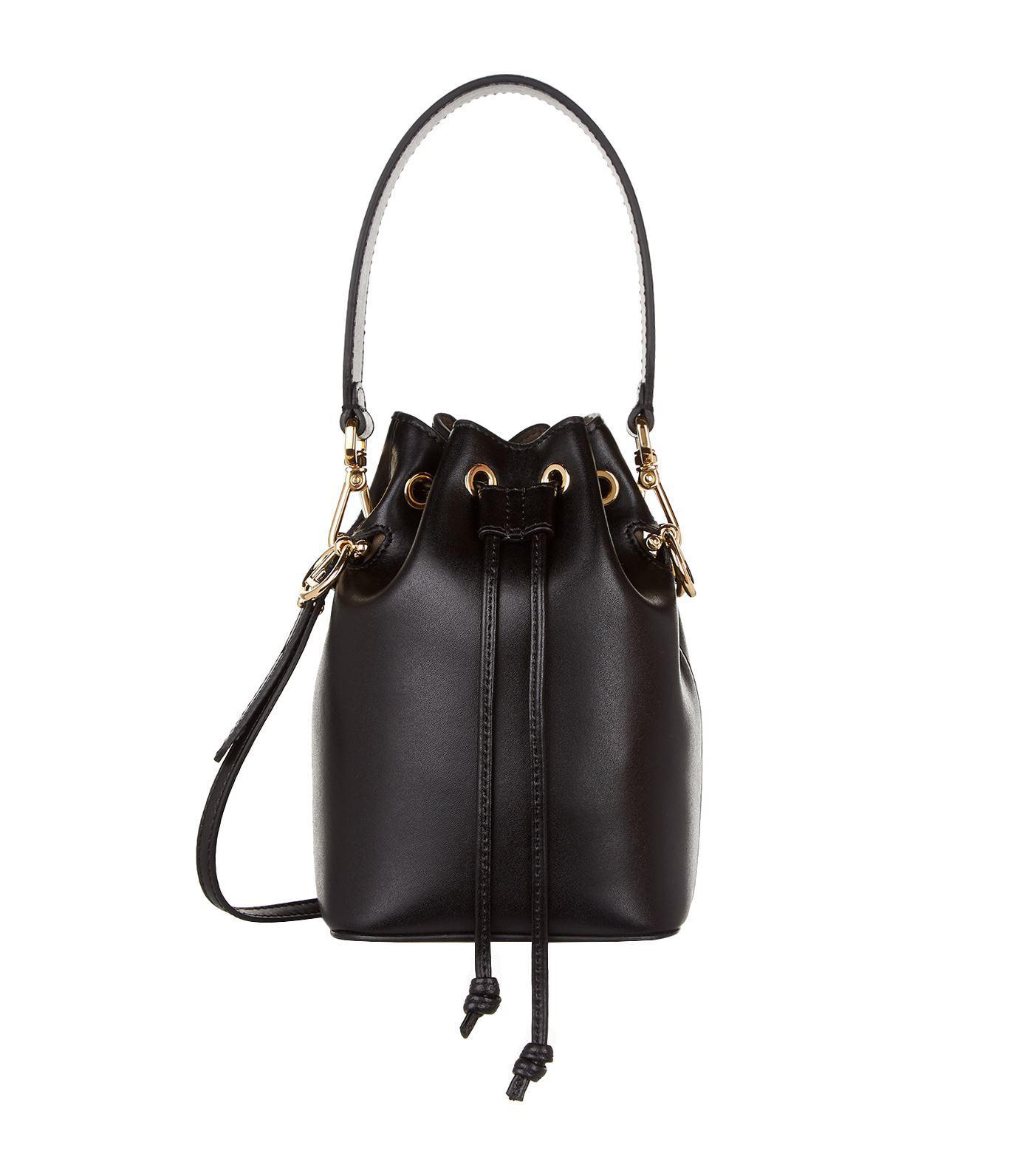 9220fd4fc2 Fendi Mini Mon Tresor Leather Bucket Bag in Black - Save 10% - Lyst