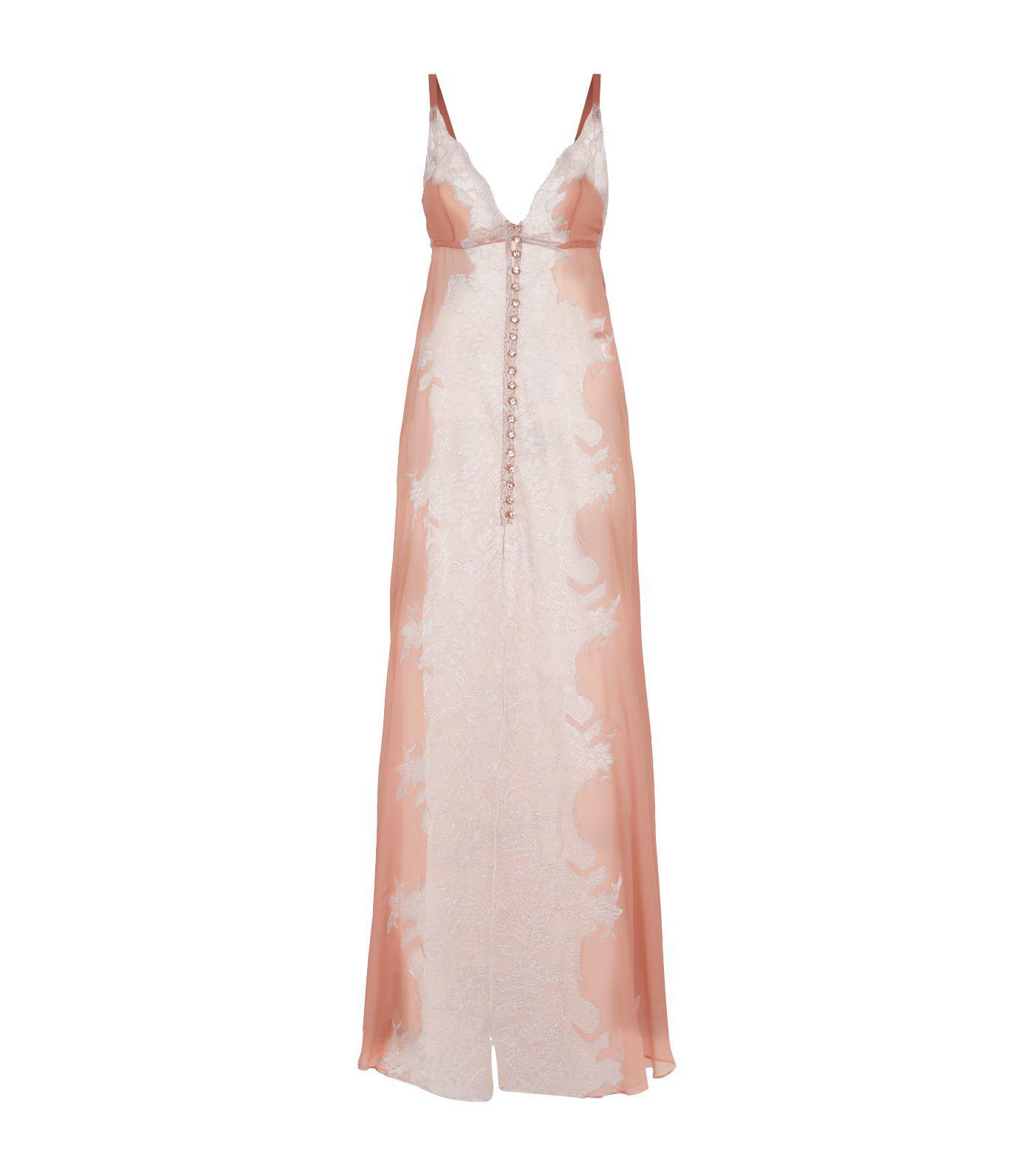 Lyst - Rosamosario Lace Trim Nightdress in Pink c5c3feb84
