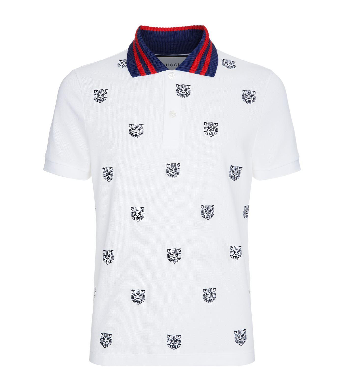 680e4e8e2 Gucci Tiger Head Contrast Collar Polo Shirt in White for Men - Lyst