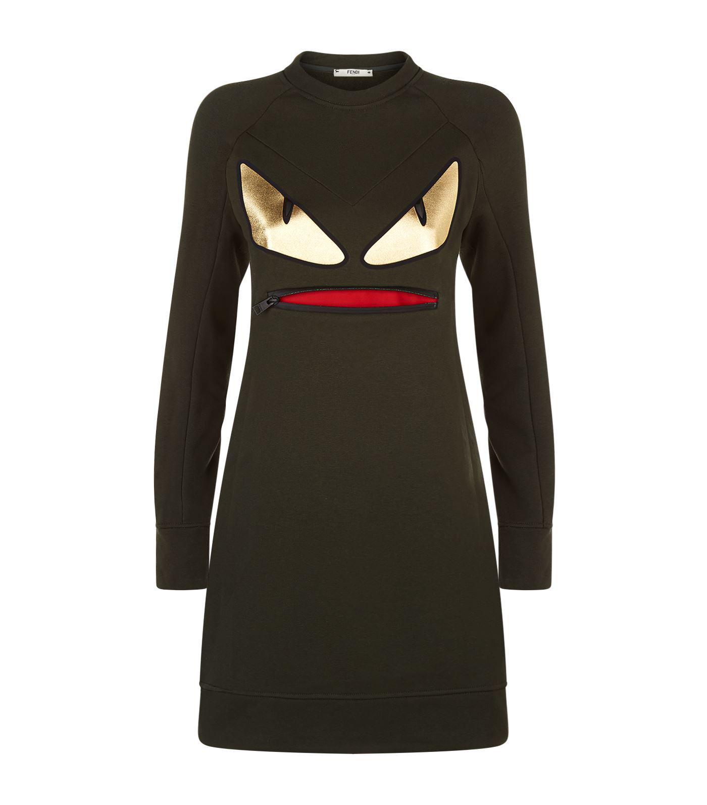 f35ebf03de Fendi Monster Sweater Dress in Black - Lyst