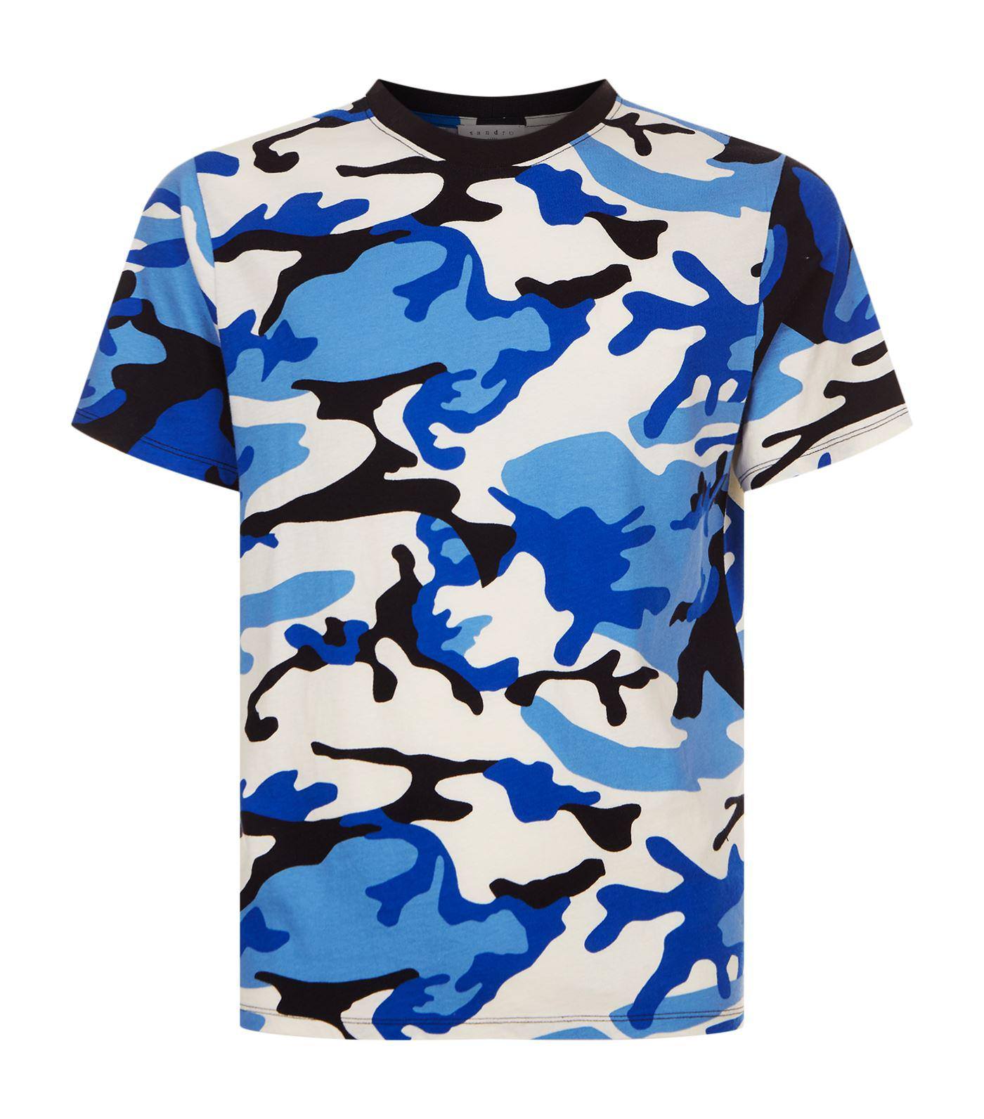 7dbc3d1ca7ef Sandro Camouflage Printt-shirt in Blue for Men - Lyst