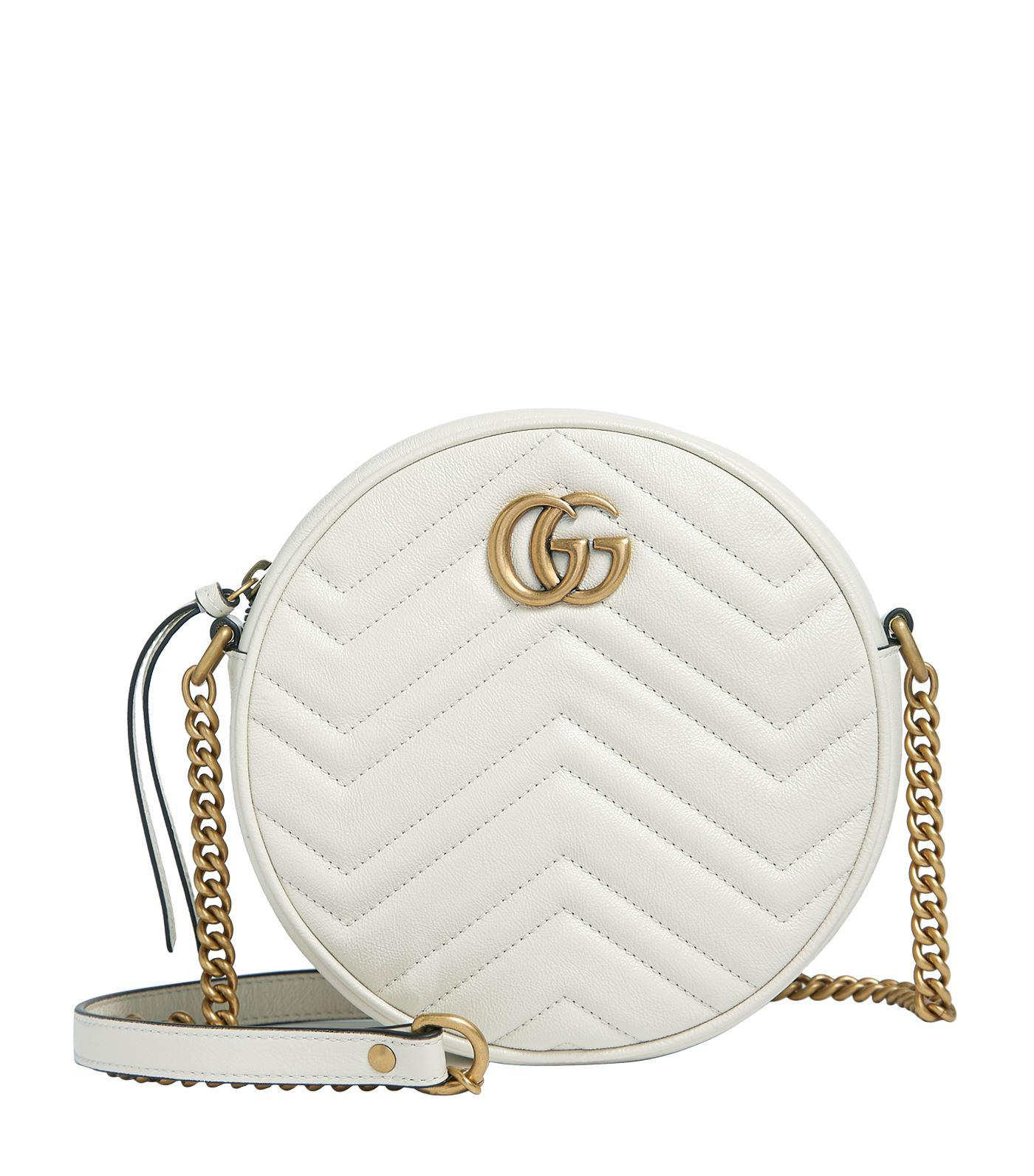 c3ae5d828a1a62 Lyst - Gucci Mini Round Marmont Matelass Shoulder Bag in White ...