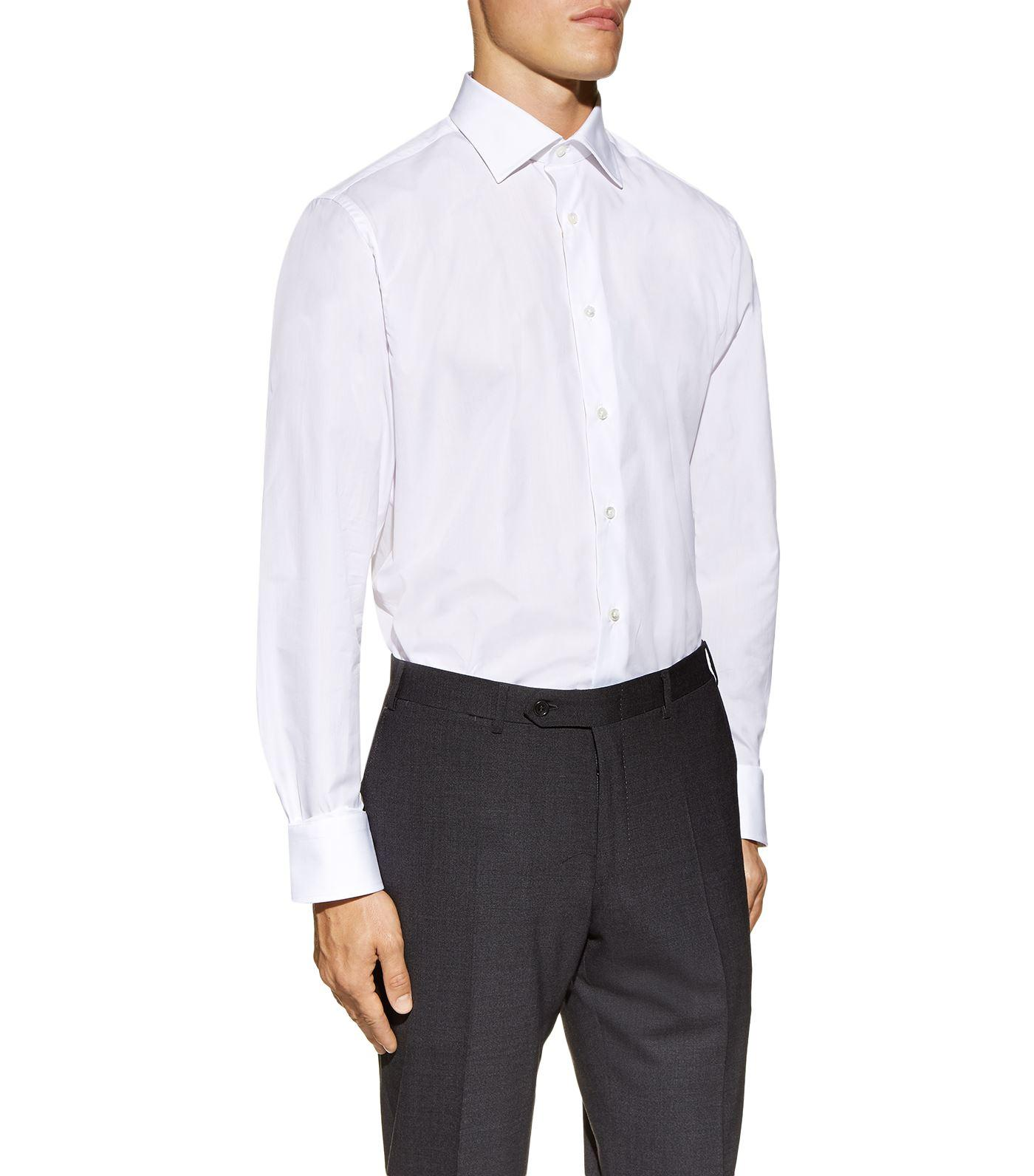Canali egyptian cotton shirt in white for men lyst for Mens egyptian cotton dress shirts