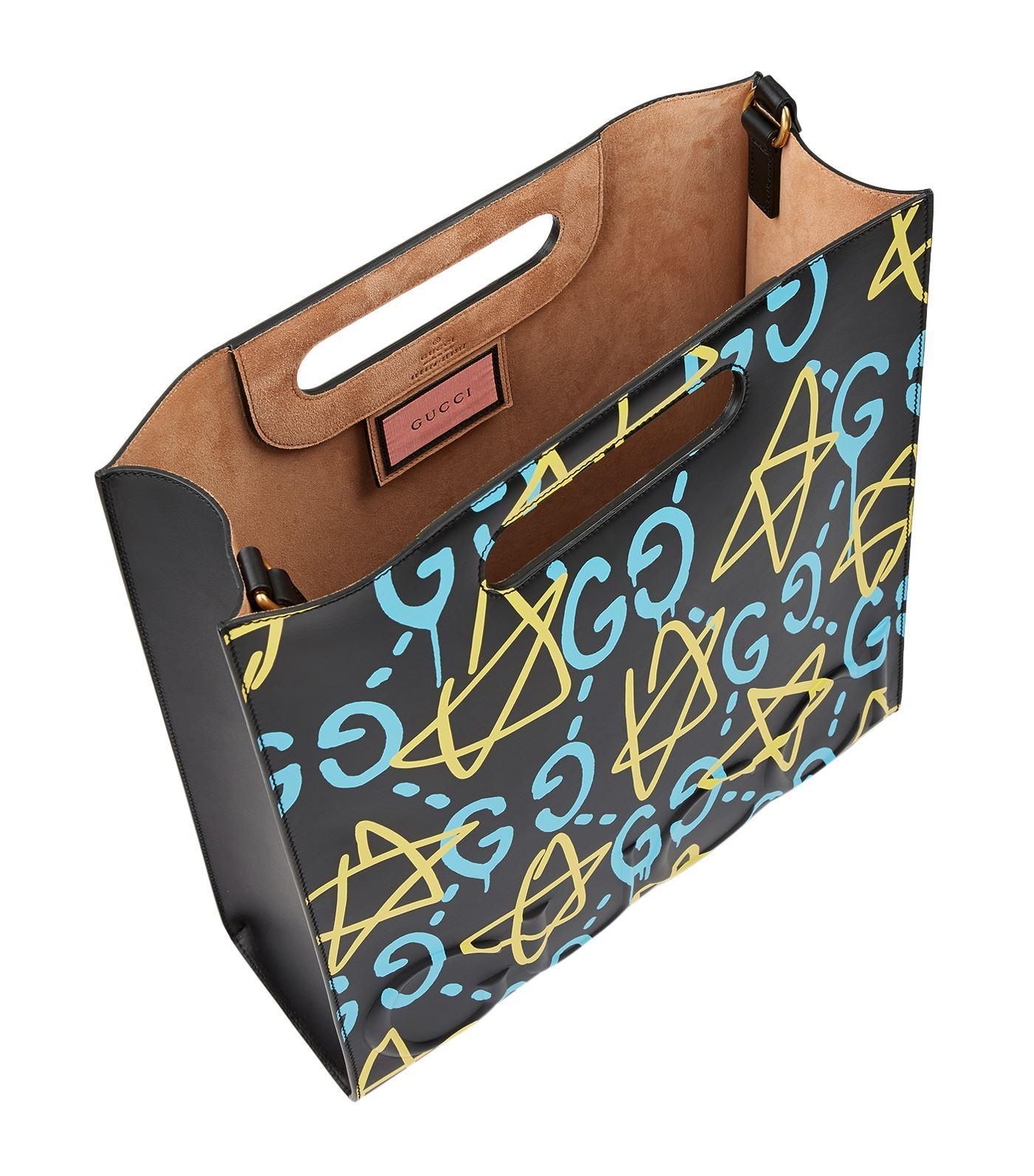d0398fdf5255 Gucci Tote Handbags Ghost. Gucci Ghost Graffiti Tote Bag in Yellow - Lyst Gucci  Black Leather Ghost Tote - Tradesy